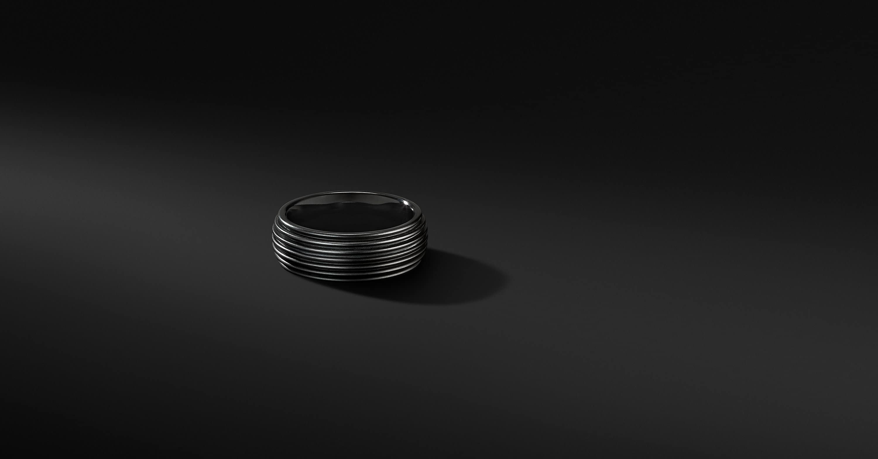 Royal Cord Band Ring in Black Titanium, 8mm