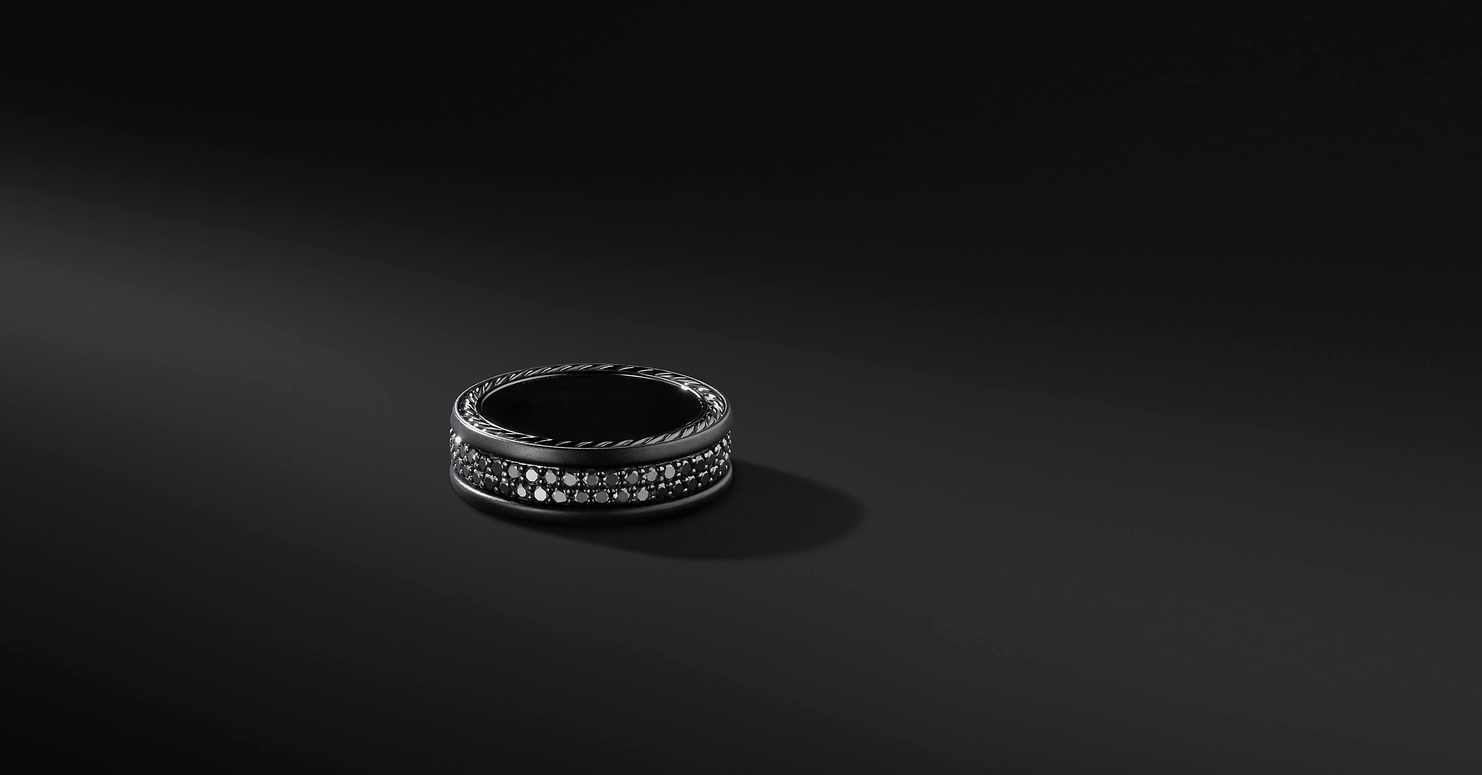 Streamline Two Row Pavé Band in Black Titanium, 6.5mm