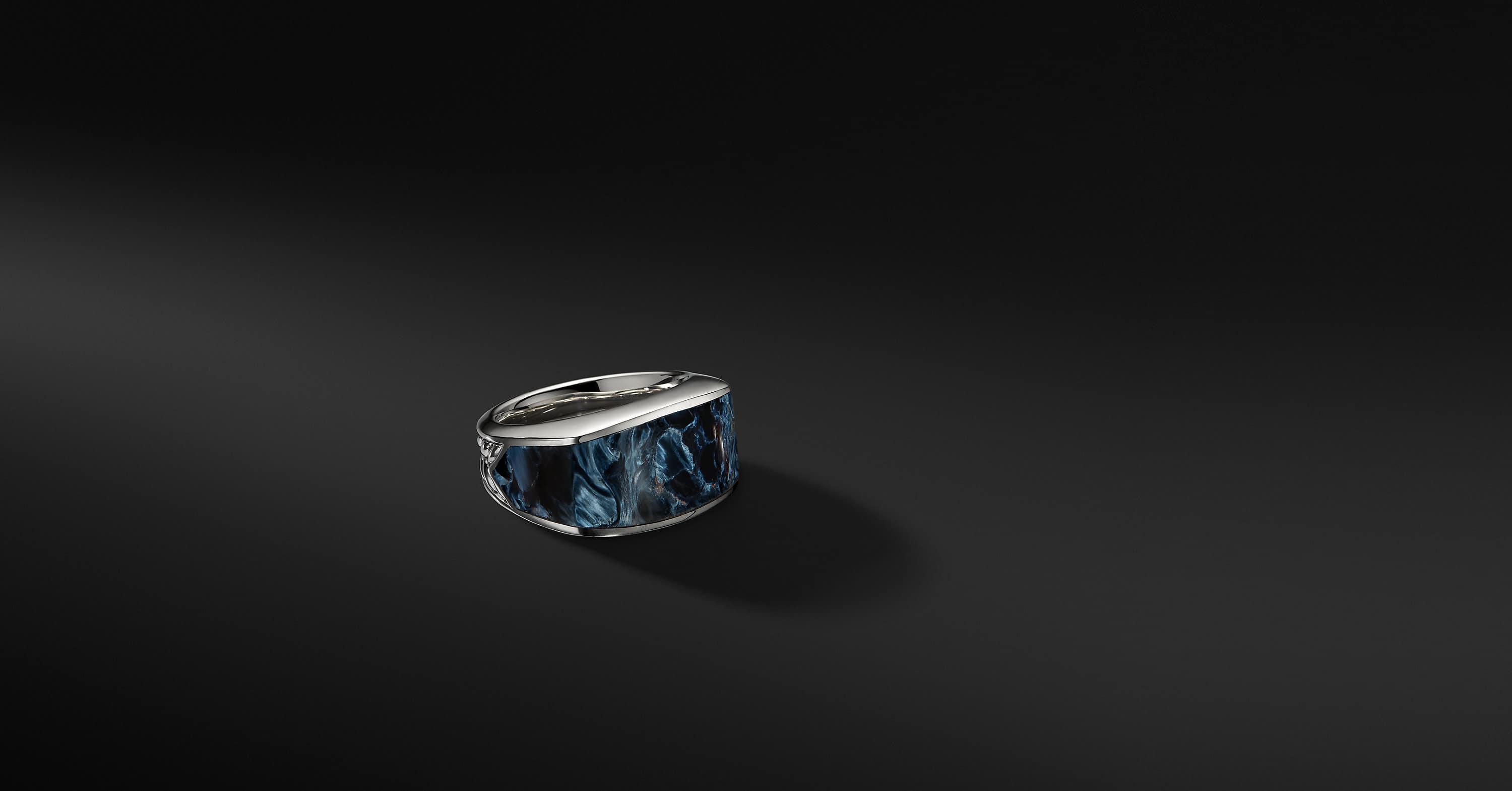 Exotic Stone Narrow Three-Sided Ring