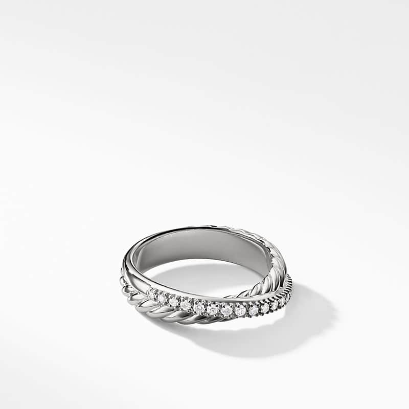 Crossover Ring with Diamonds, 5mm