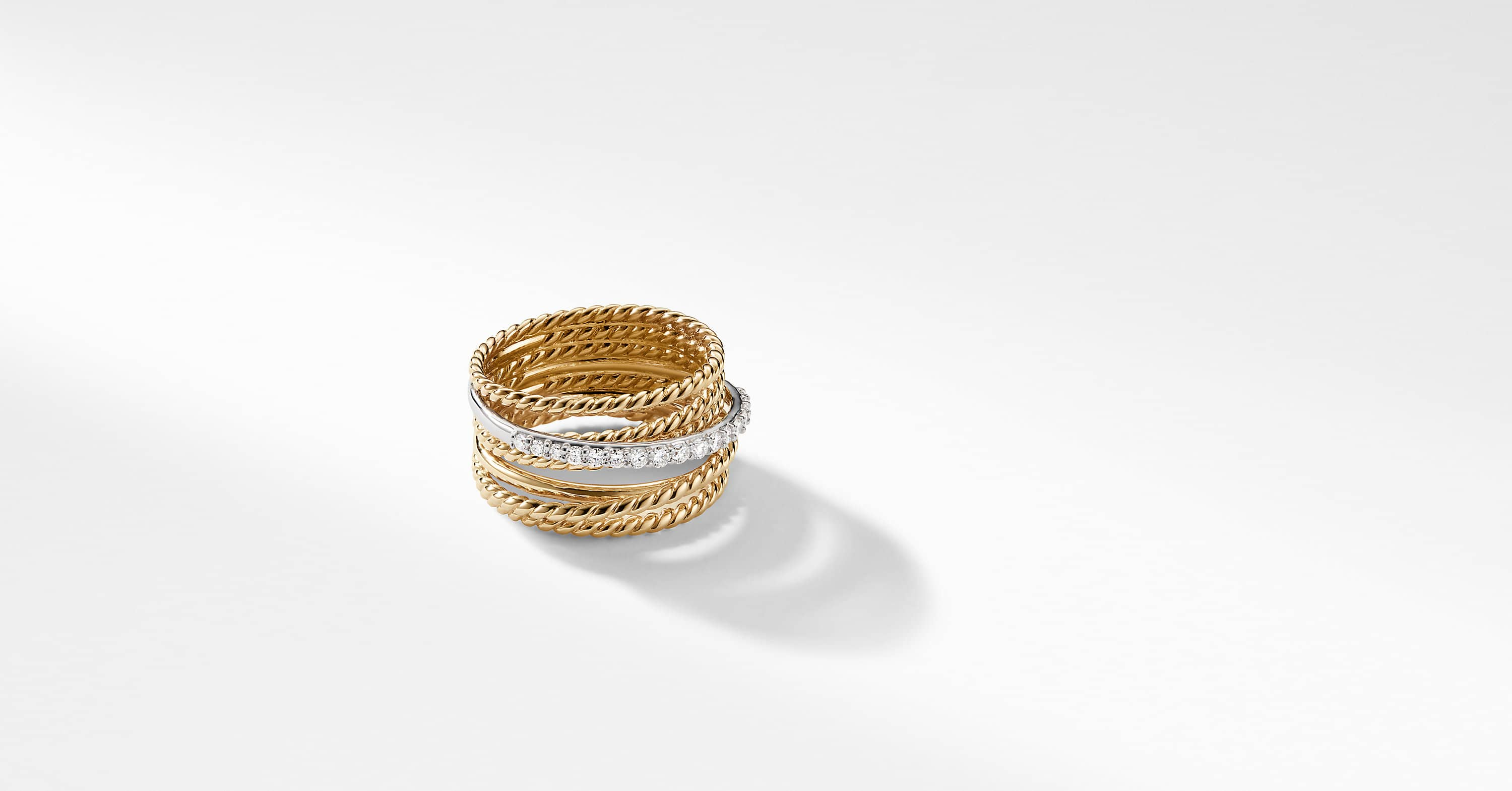 The Crossover Collection Wide Ring with Diamonds in 18K Yellow Gold