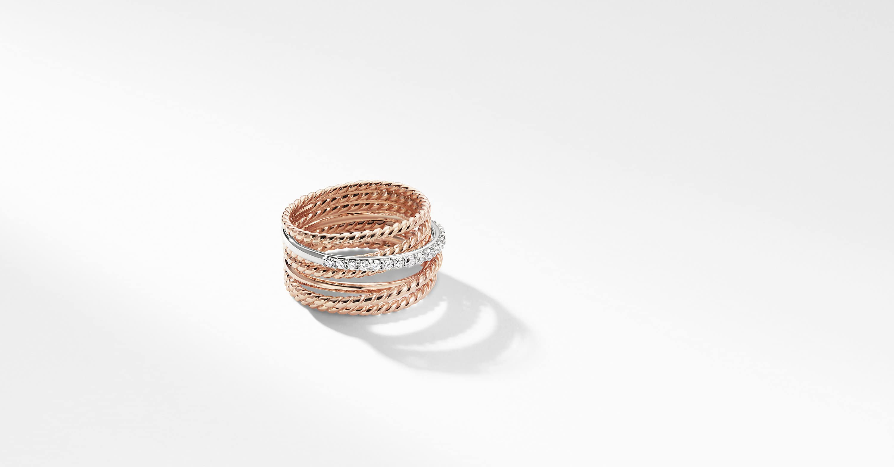 The Crossover Collection Wide Ring with Diamonds in 18K Rose Gold