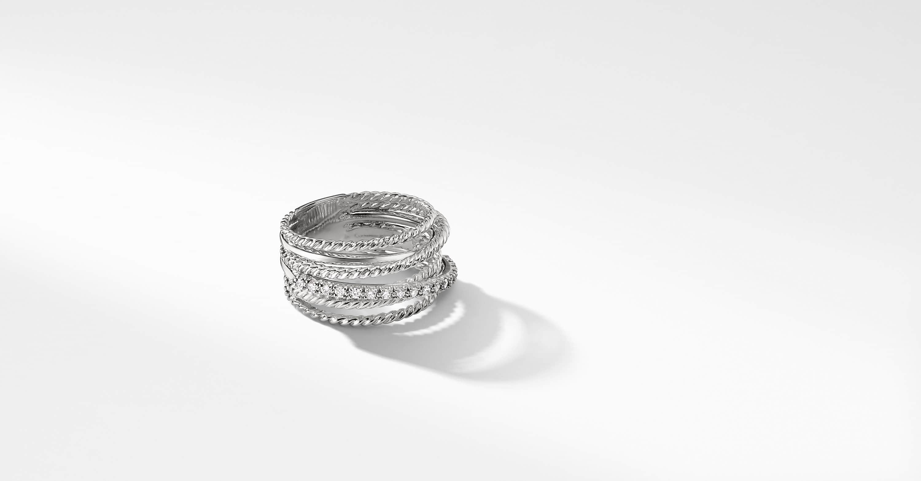 Bague large avec diamants The Crossover Collection