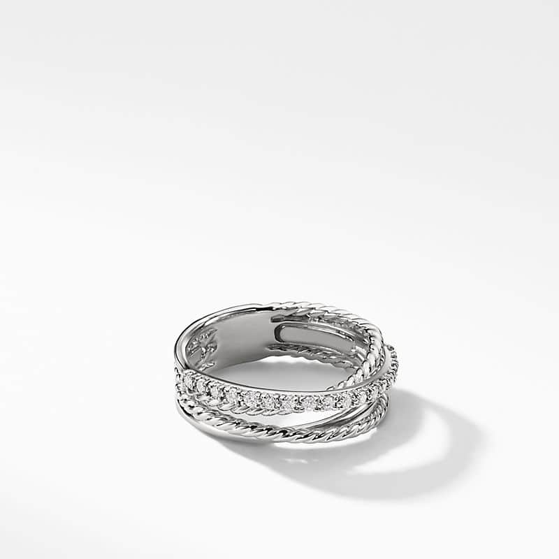 Crossover Ring with Diamonds, 7mm