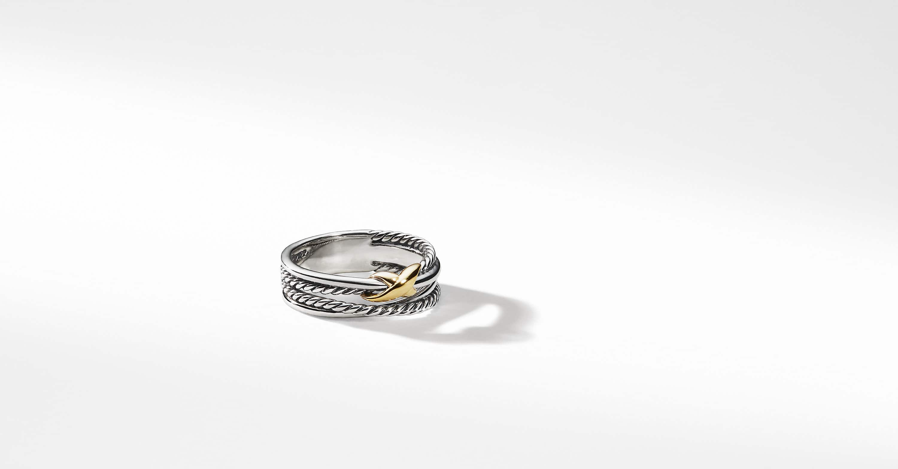 X Crossover Ring with 18K Gold