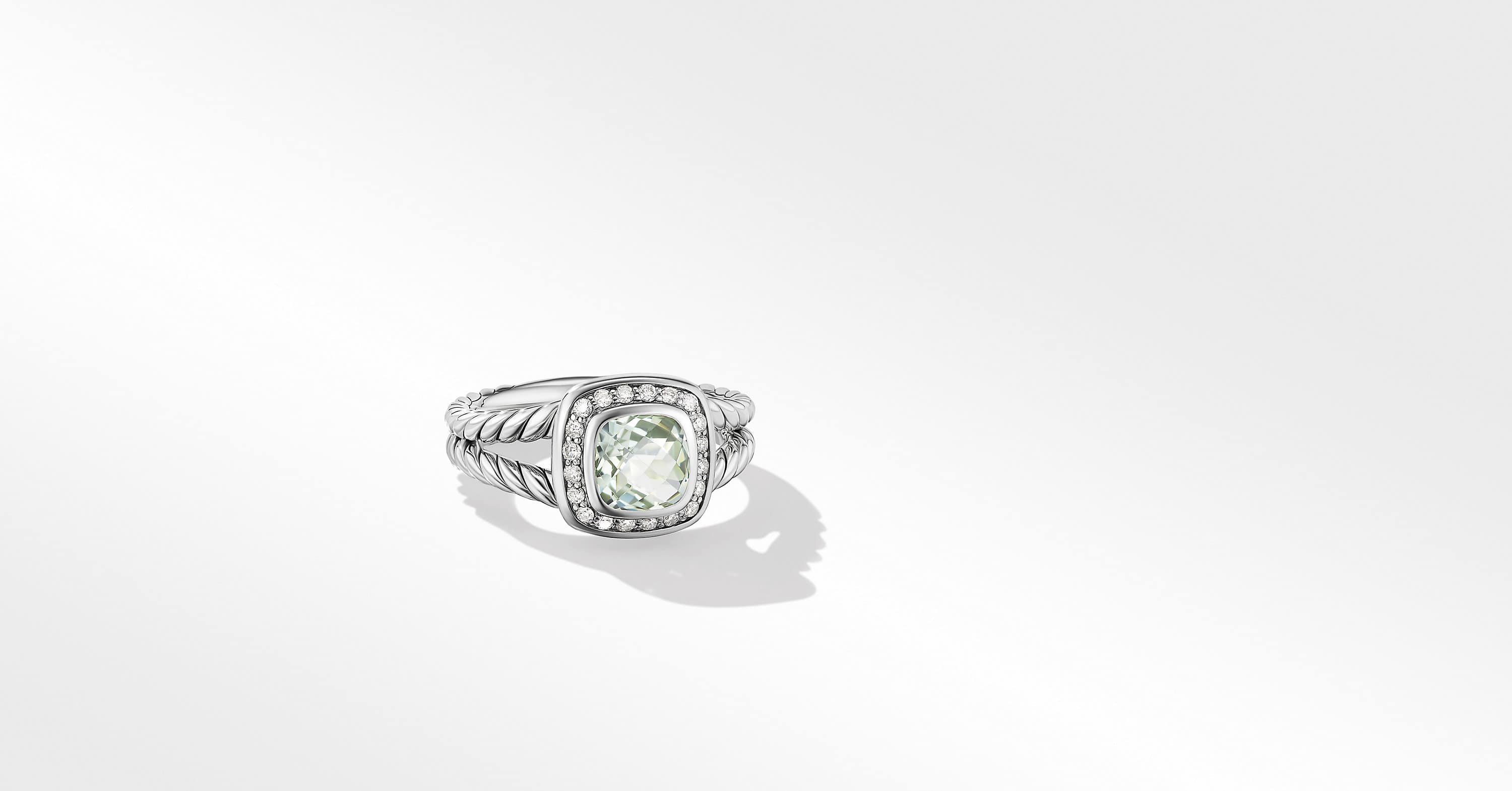 Petite Albion Ring with Diamonds, 7mm Gemstone