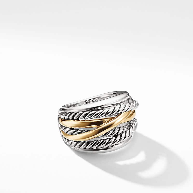 The Crossover Collection Wide Ring with 14K Yellow Gold