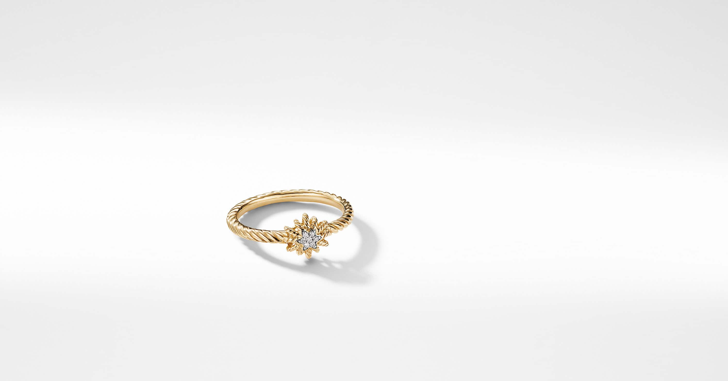 Small Starburst Ring with Diamond in 18K Gold