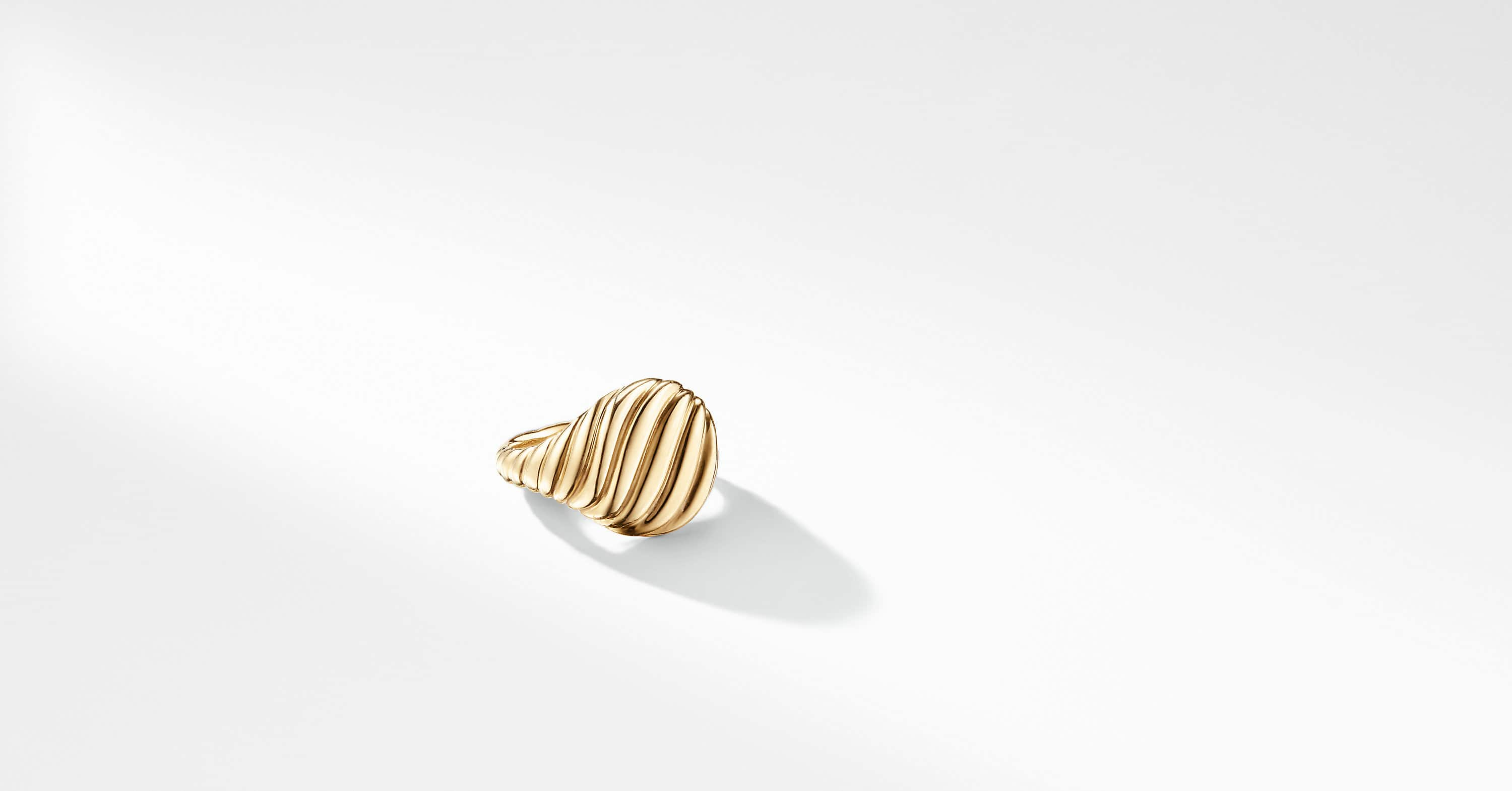 Sculpted Cable Pinky Ring in 18K Gold