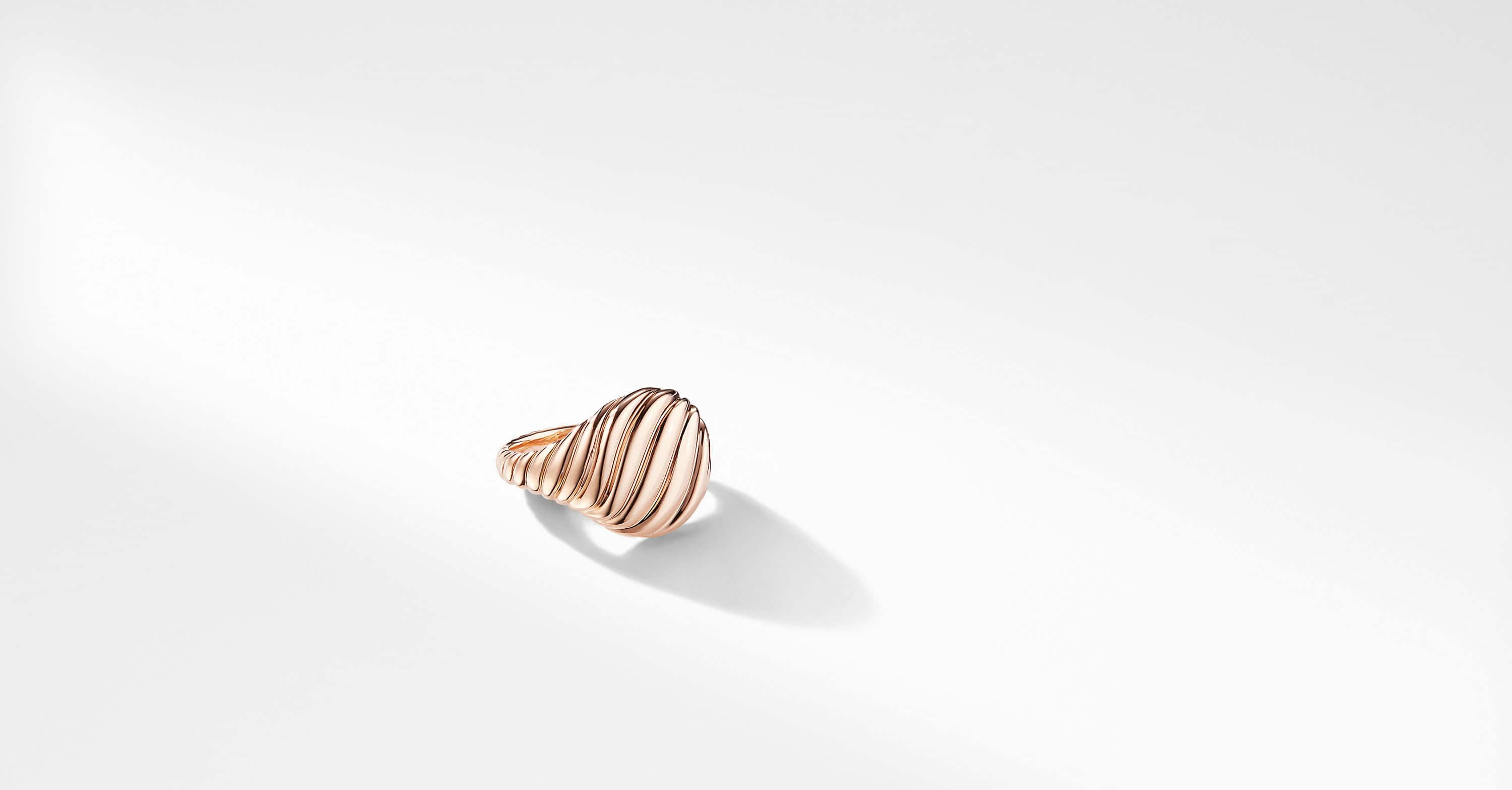 Sculpted Cable Pinky Ring in Rose 18K Gold