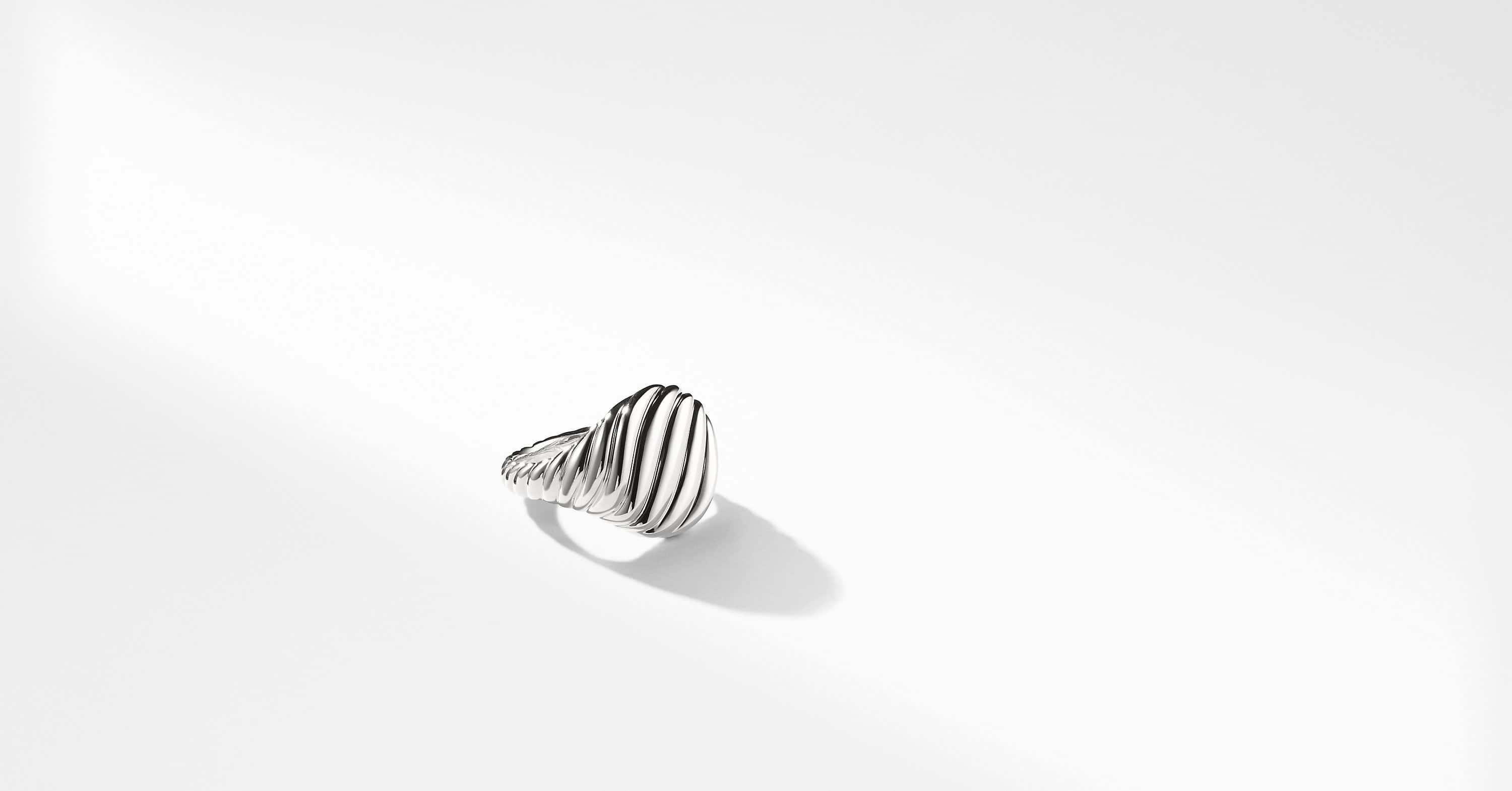 Sculpted Cable Pinky Ring in 18K White Gold