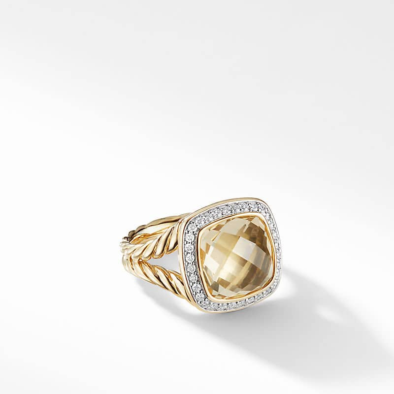 Albion® Ring with Champagne Citrine and Diamonds in