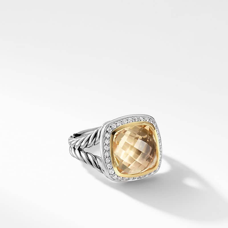 Albion® Ring with Champagne Citrine and Diamonds with