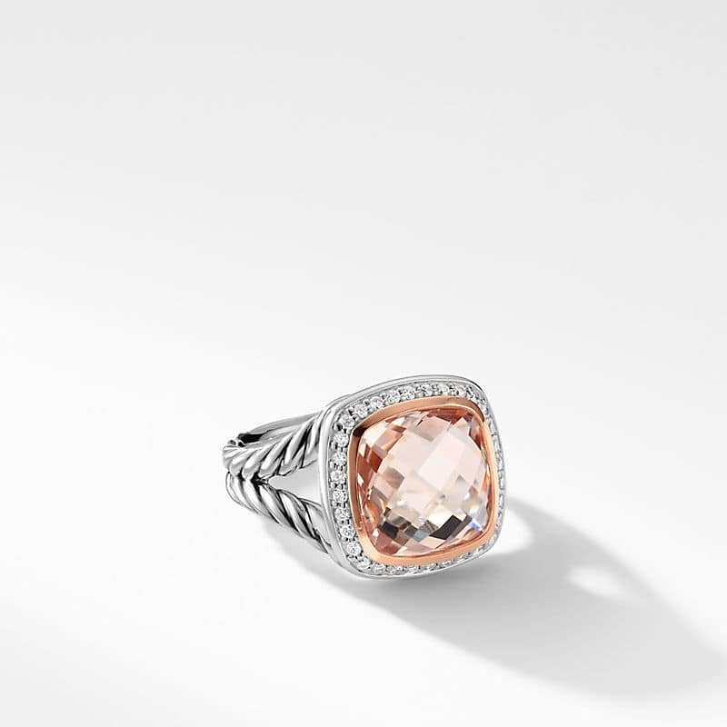 Albion Ring with Morganite, Diamonds and 18K Rose