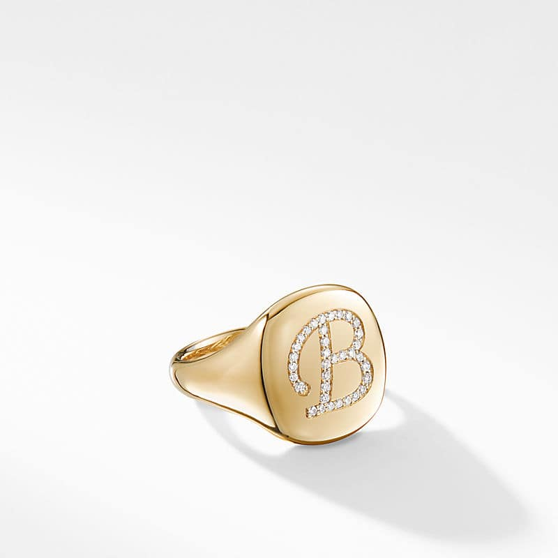 DY Initial Pinky Ring with Diamonds in 18K