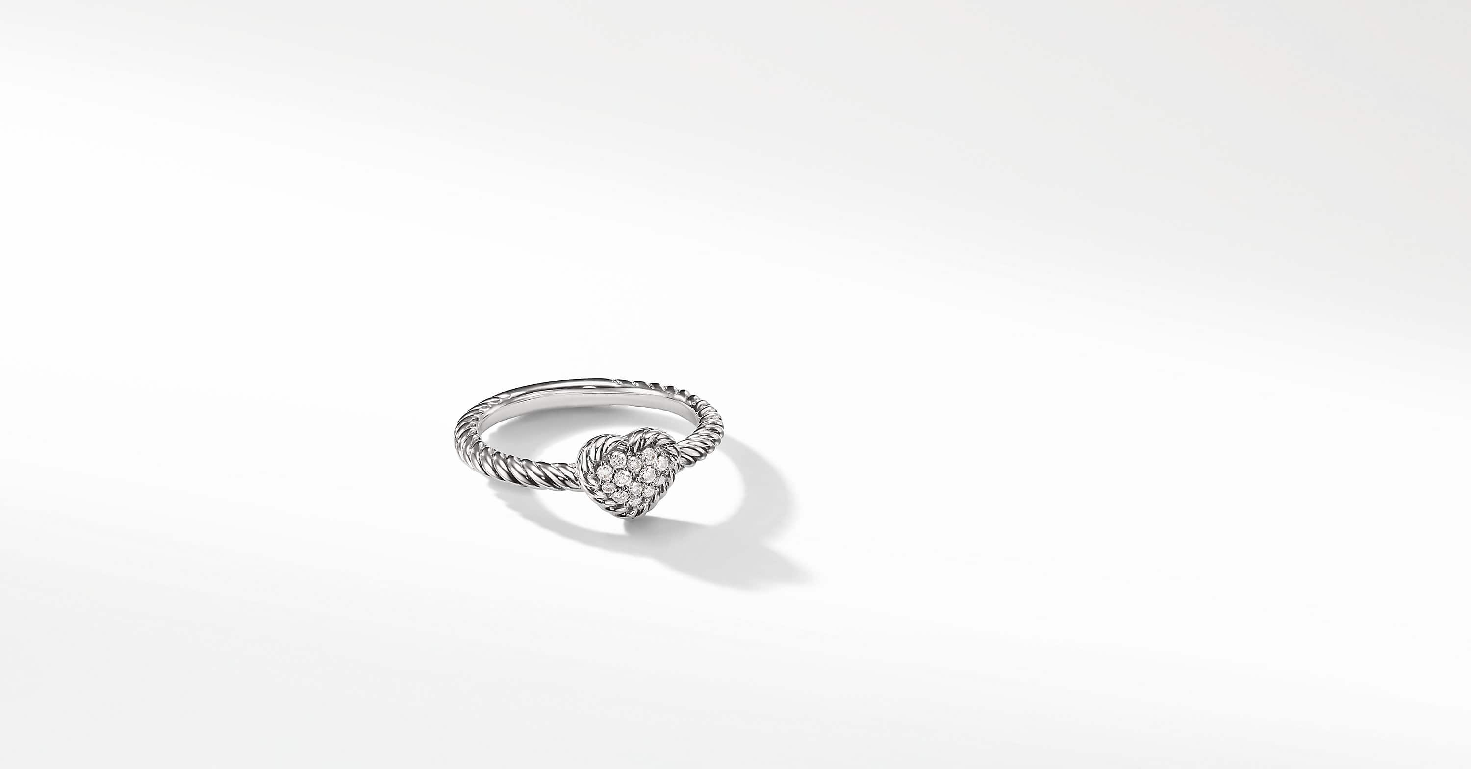 Petite Pave Heart Ring with Diamonds