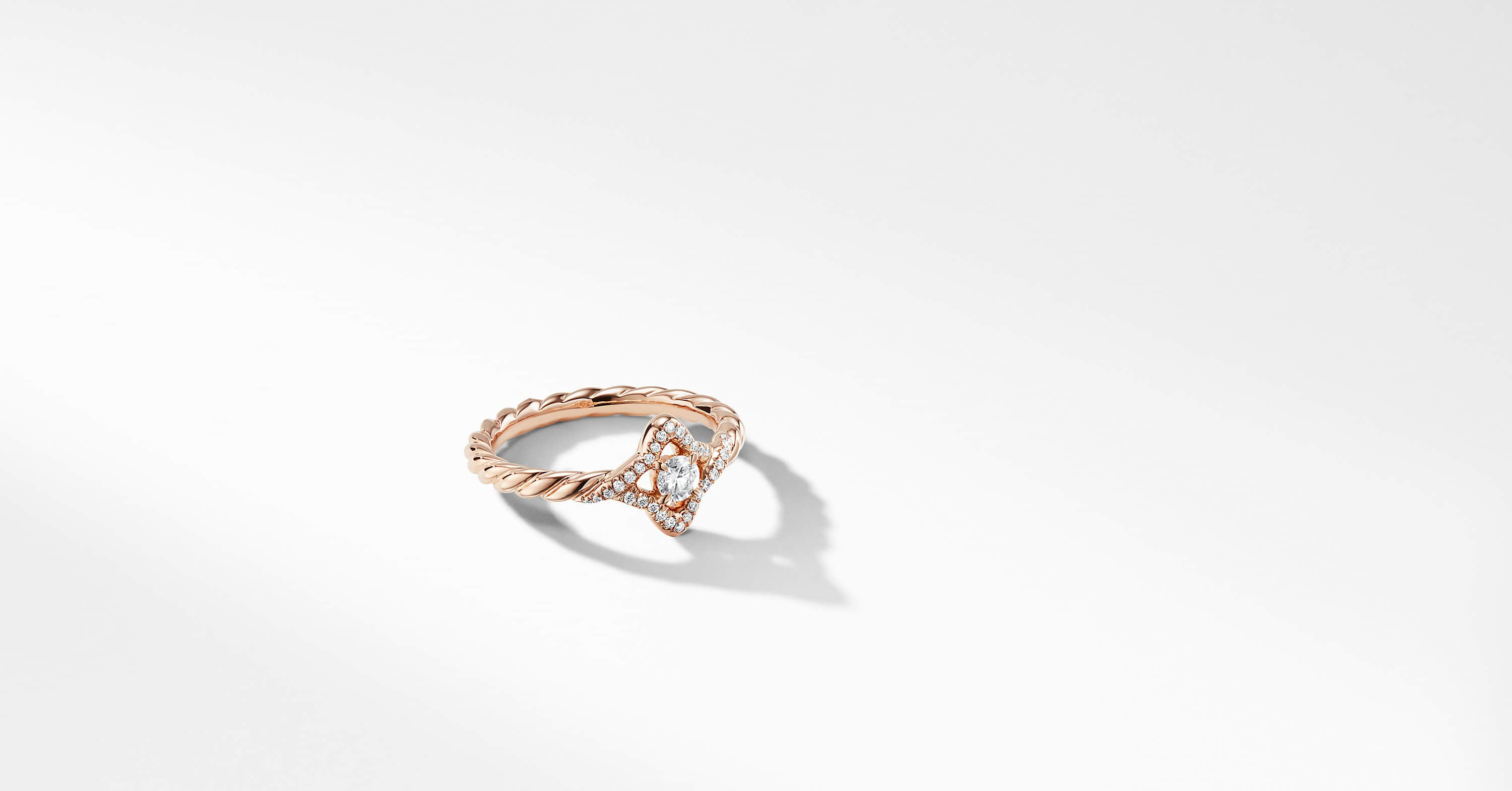 Bague Venetian Quatrefoil en or rose 18 carats et diamants