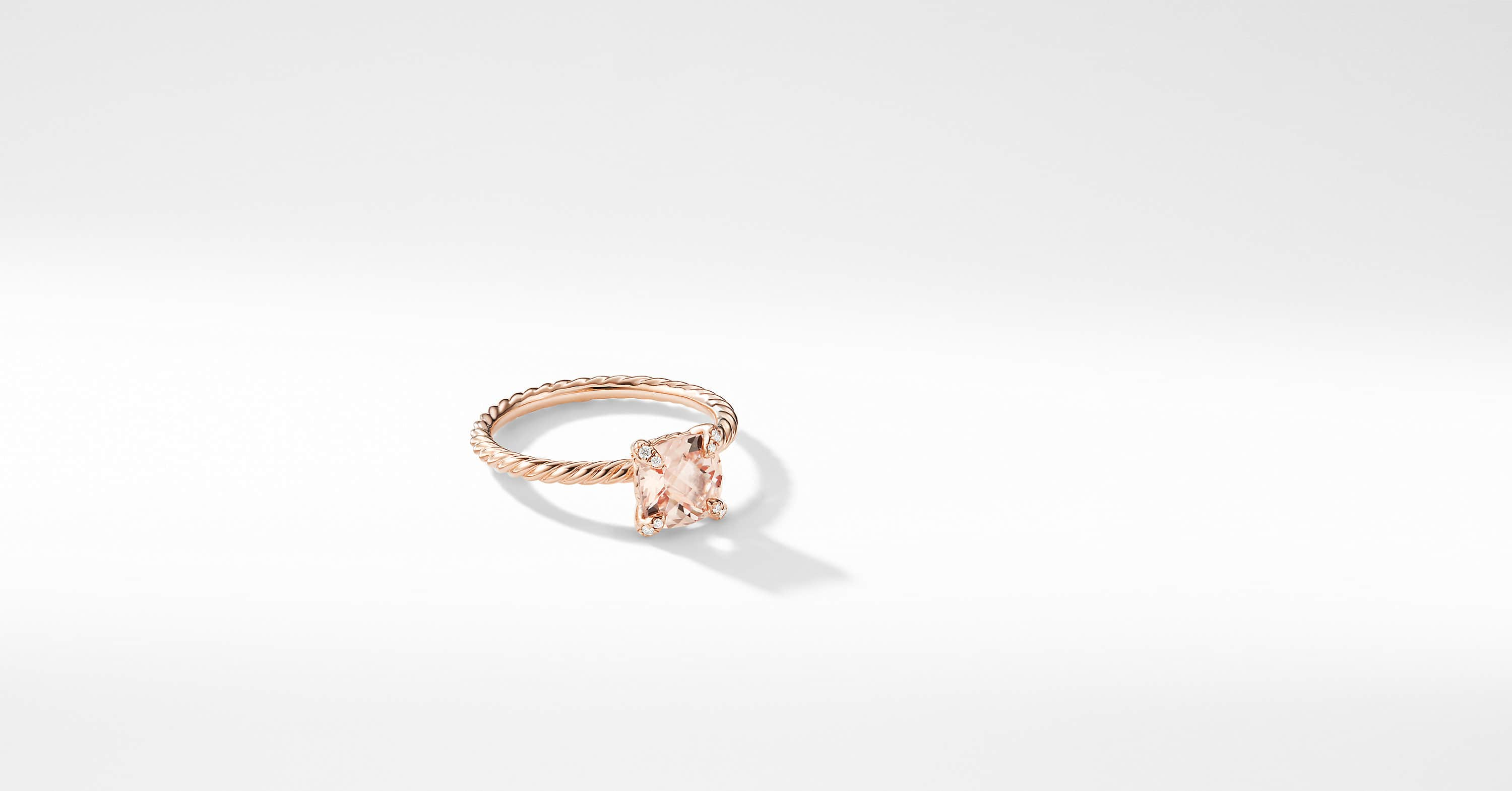 Chatelaine Ring with Diamonds in 18K Rose Gold, 7mm