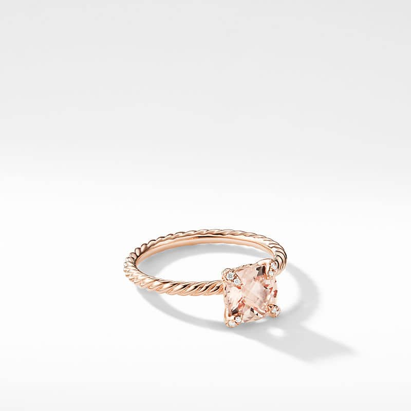 Chatelaine® Ring with Morganite and Diamonds in 18K