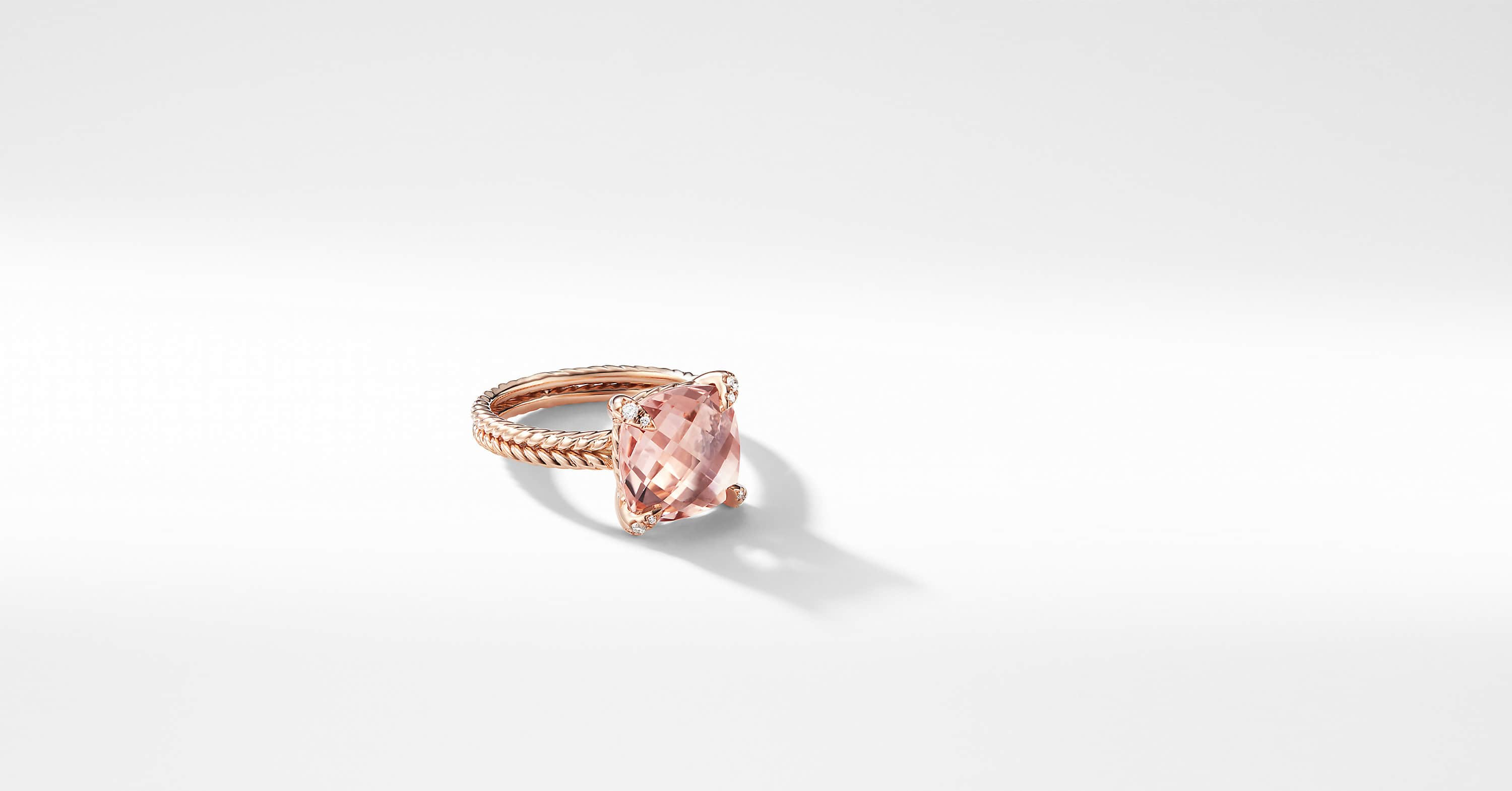 Chatelaine Ring with Diamonds in 18K Rose Gold, 11mm