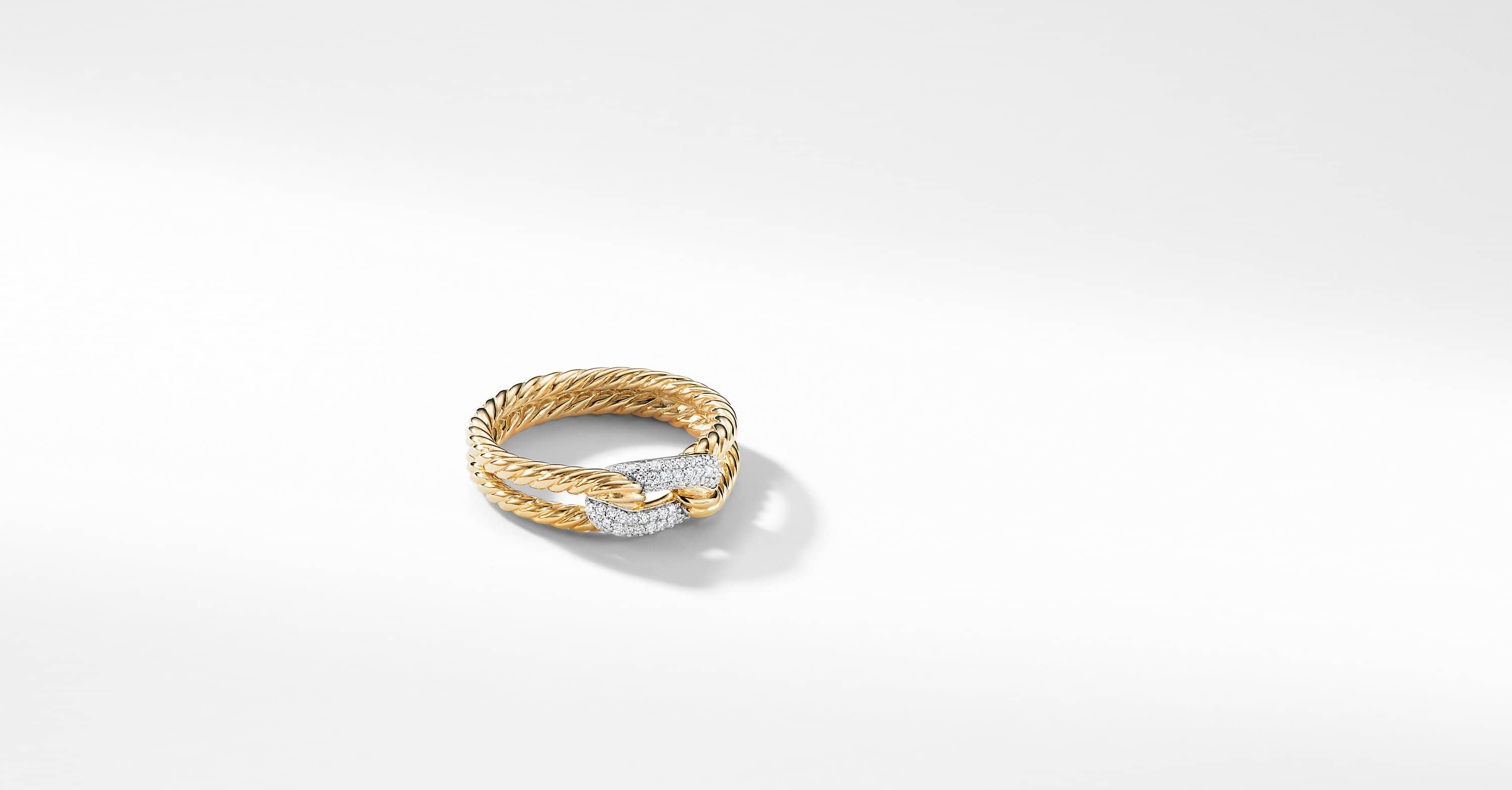 Petite Pavé Loop Ring with Diamonds in 18K Gold