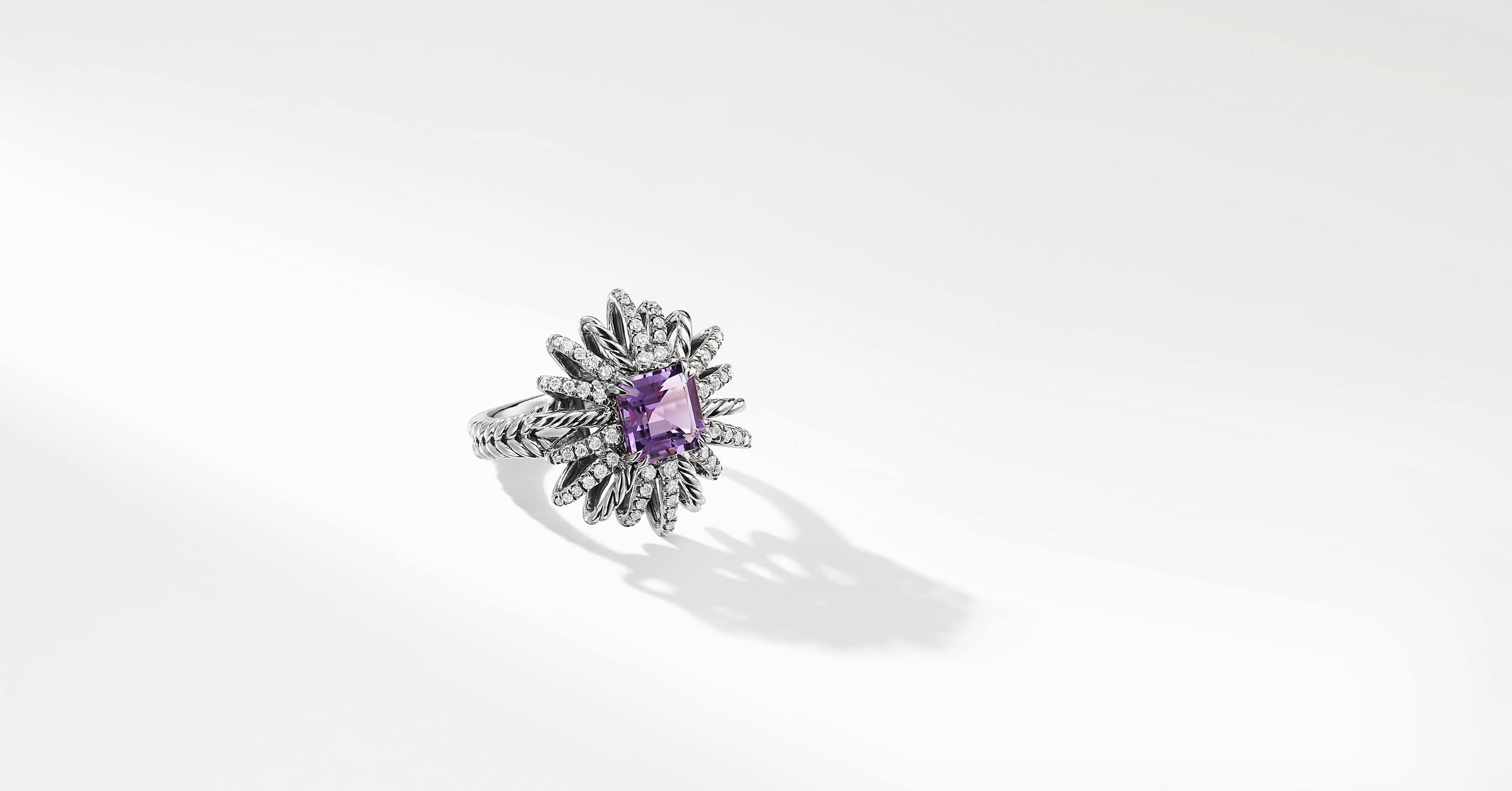 Starburst Ring with Diamonds in Silver, 23mm
