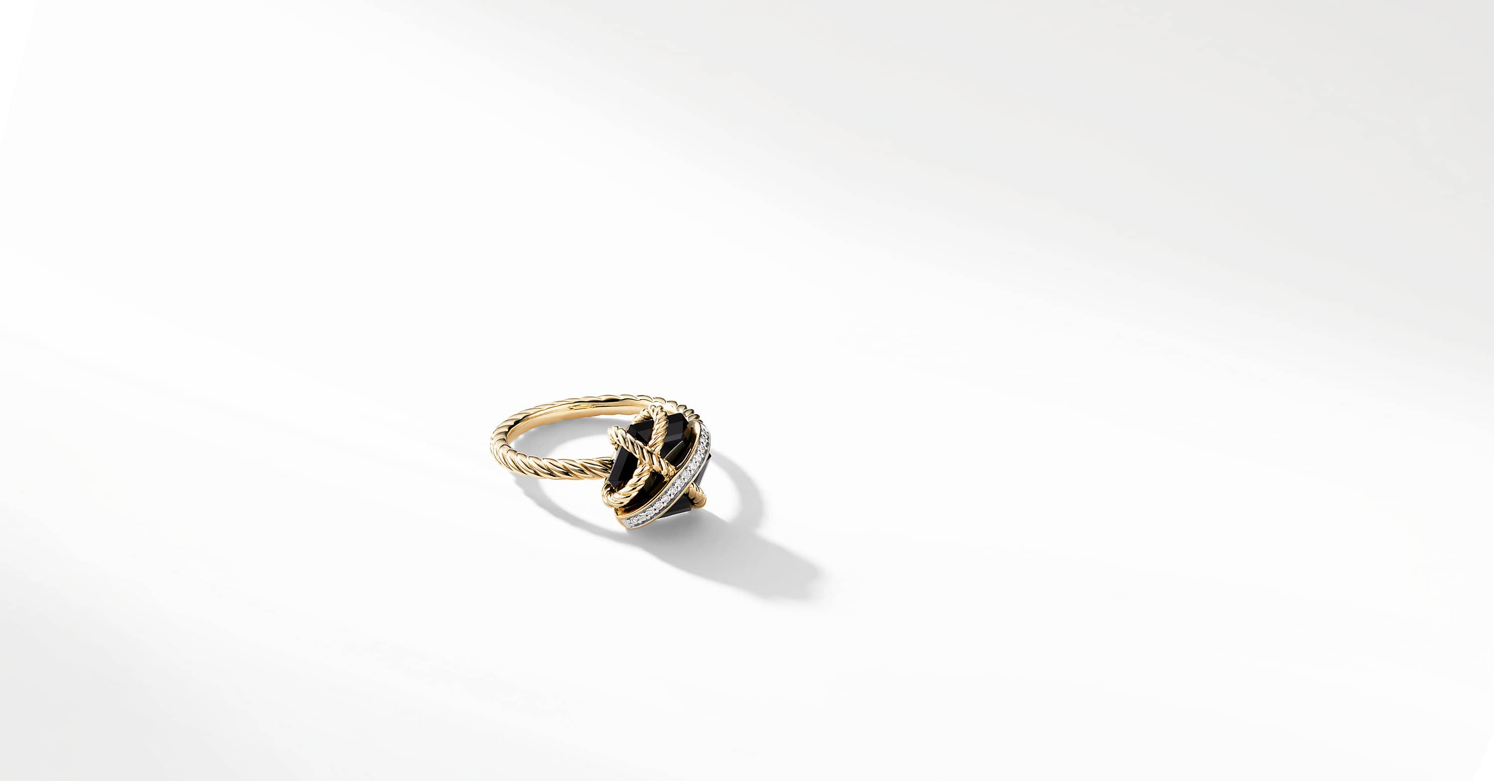 Cable Wrap Ring with Diamonds in 18K Gold, 10mm