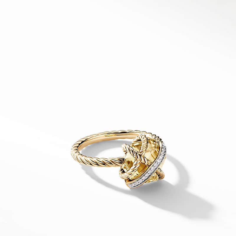 Cable Wrap Ring with Diamonds and Champagne Citrine