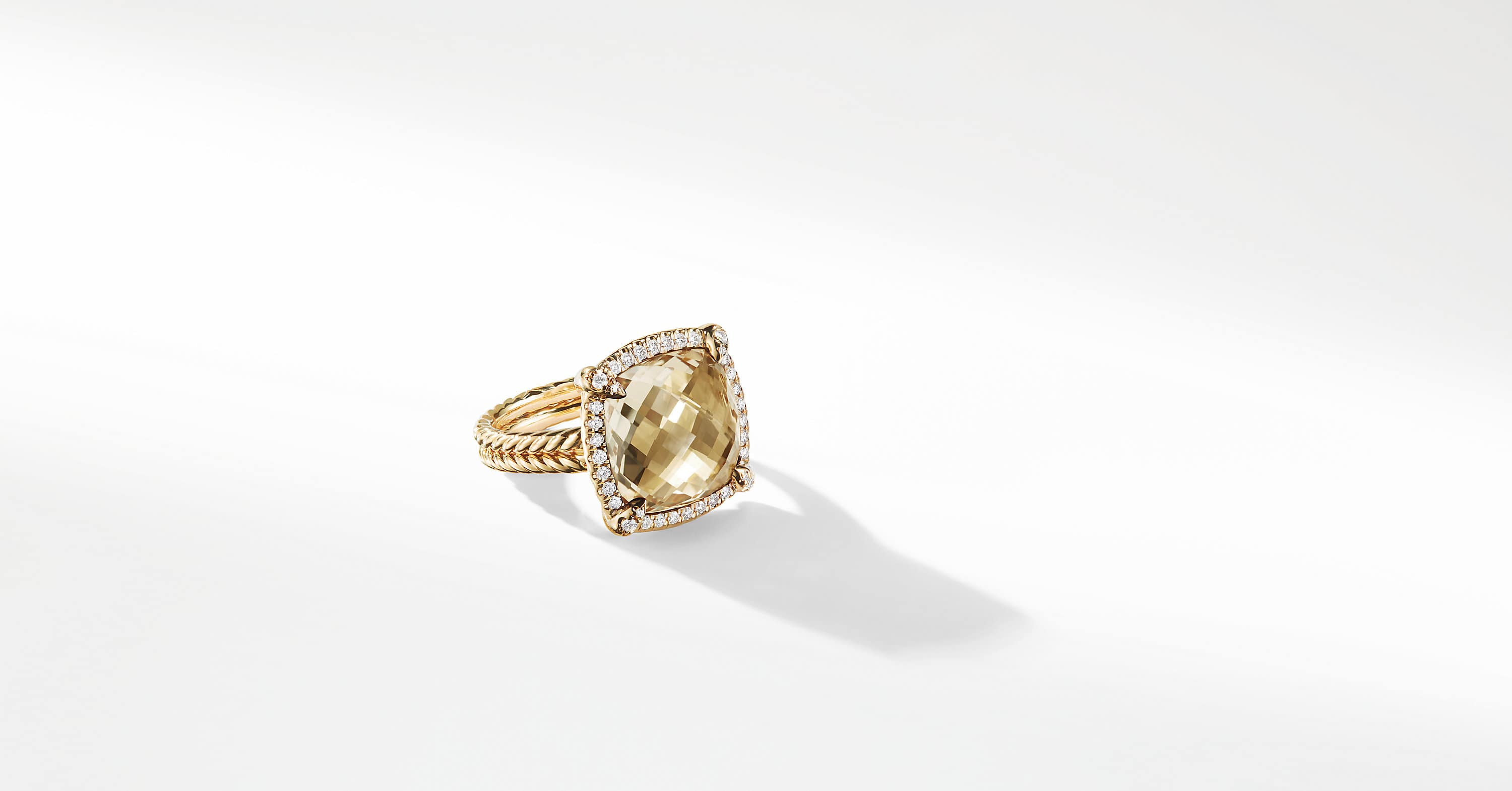 Chatelaine Pave Bezel Ring with Diamonds in 18K Gold, 14mm