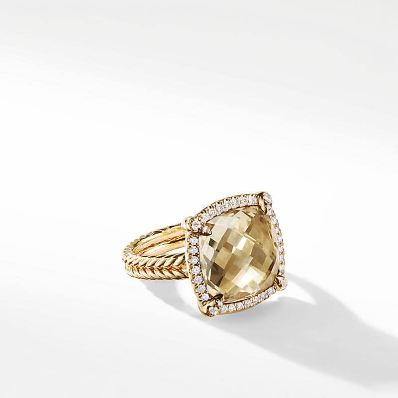 Chatelaine Pave Bezel Ring with Champagne Citrine and