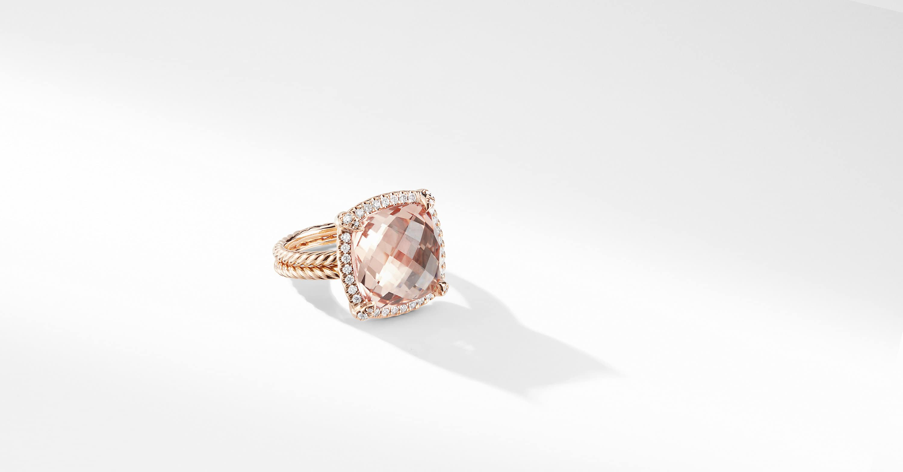 Chatelaine Pave Bezel Ring in 18K Rose Gold, 14mm