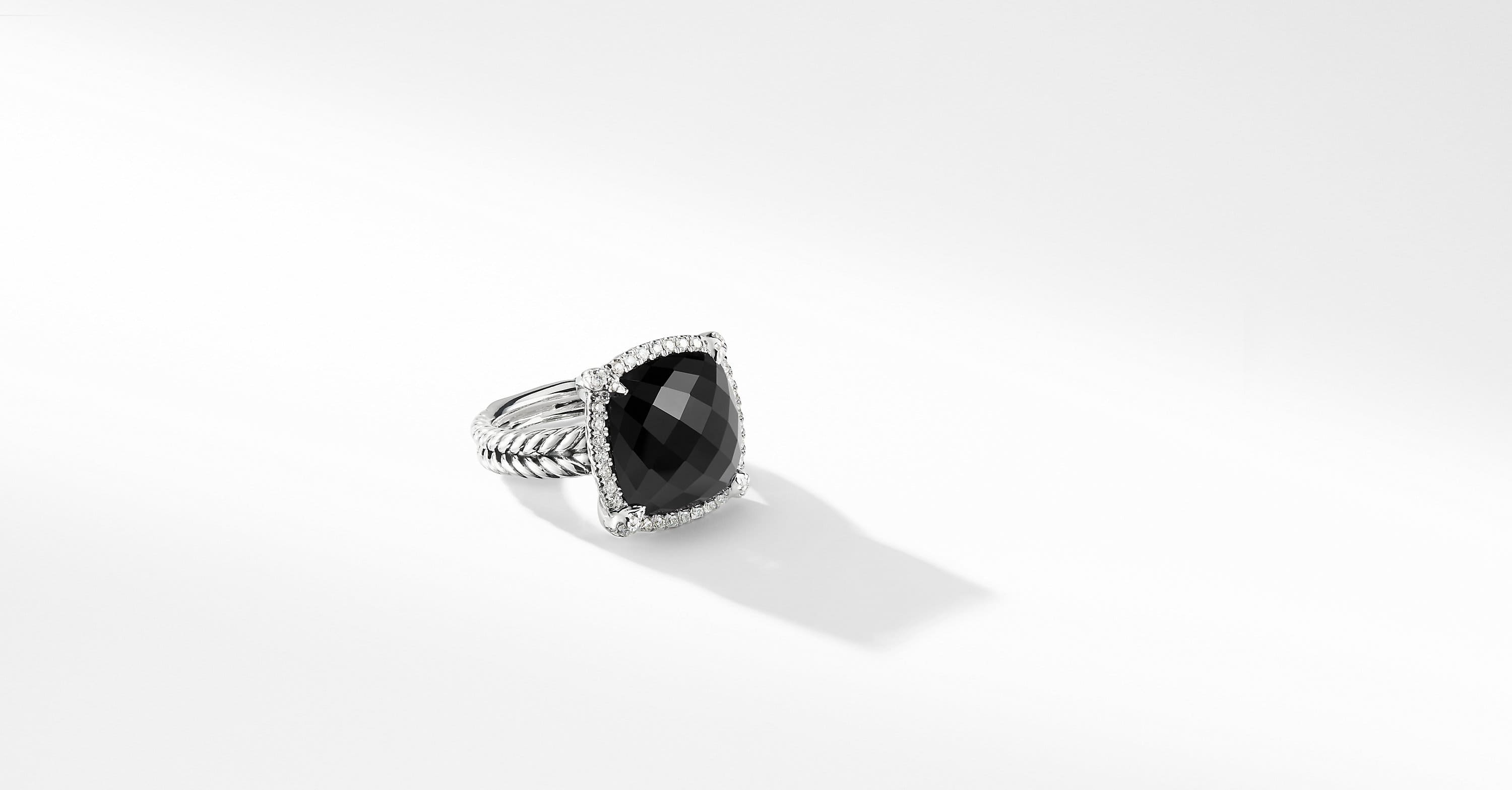 Chatelaine Pave Bezel Ring with Diamonds, 14mm