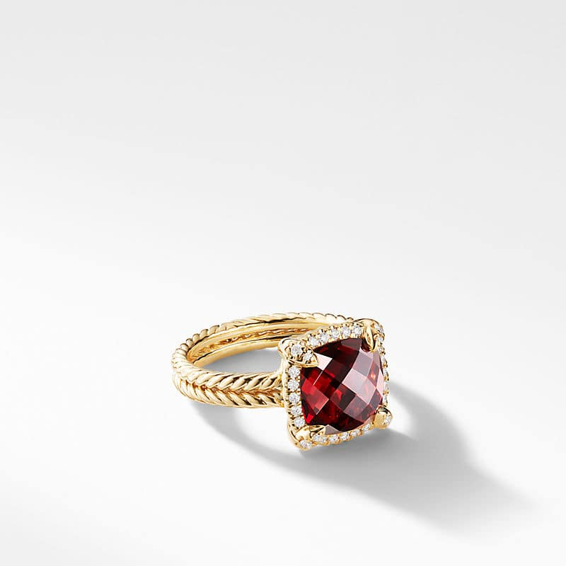Chatelaine Pave Bezel Ring with Diamonds in 18K Gold, 9mm
