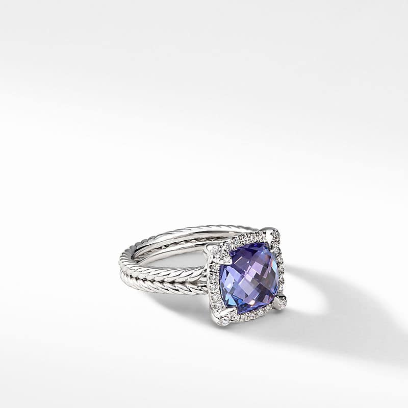 Châtelaine Pave Bezel Ring with Tanzanite and Diamonds