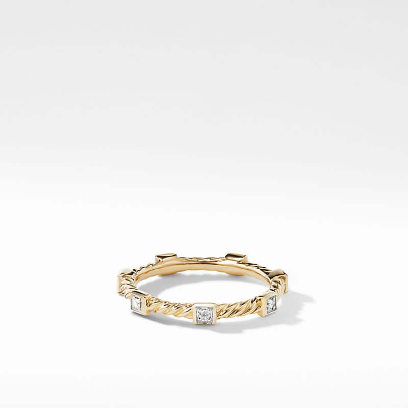 Cable Collectibles Stack Ring in 18K Yellow Gold with Diamonds, 2.8mm