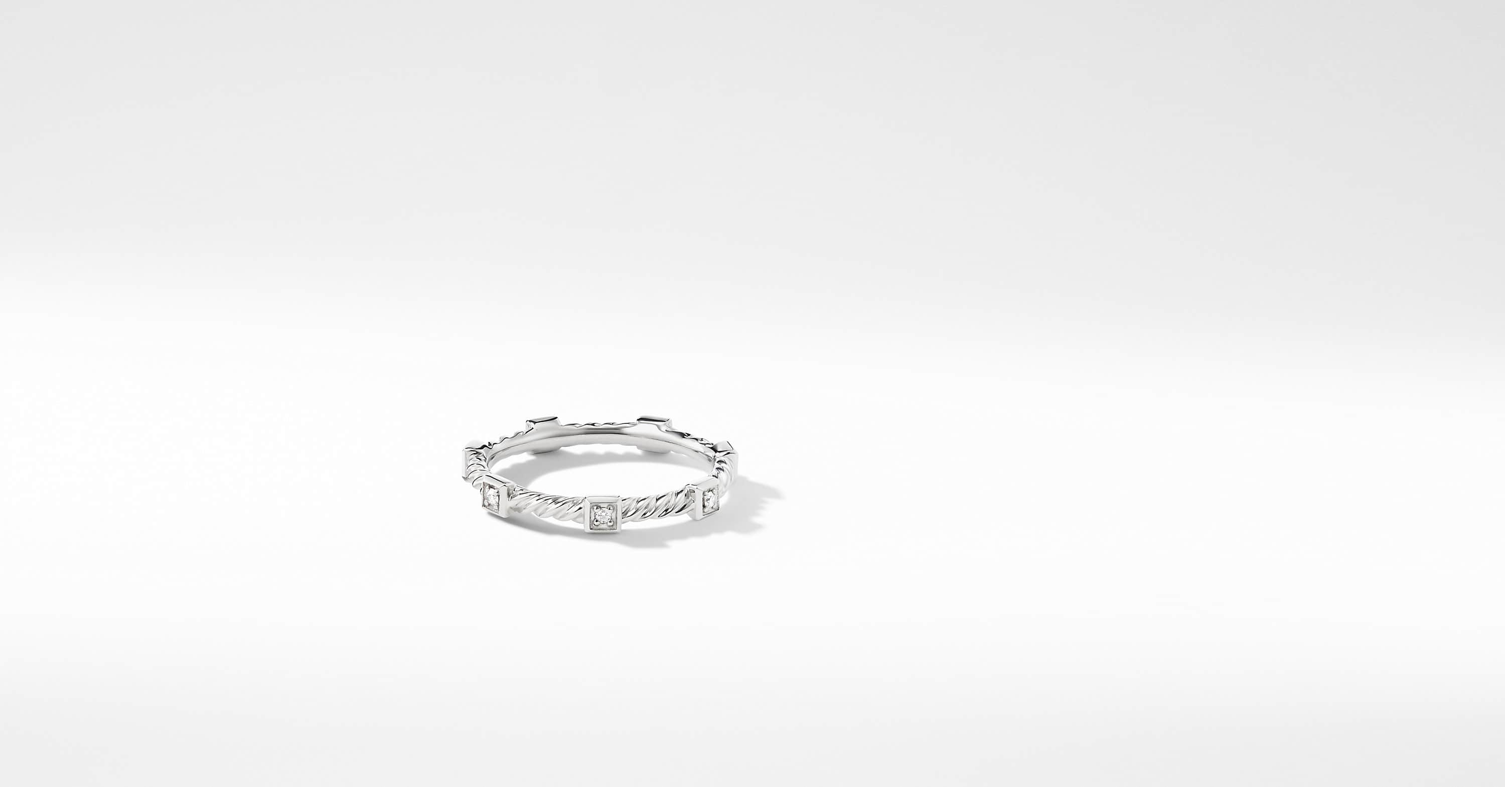 Cable Collectibles Cable Stack Ring with Diamonds in 18K White Gold