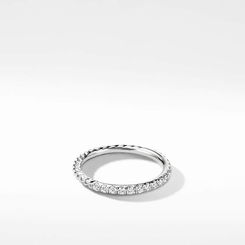 Cable Pavé Band Ring with Diamonds in 18K