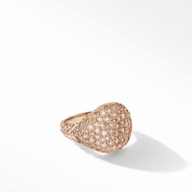 Chevron Pinky Ring in 18K Rose Gold with Pavé
