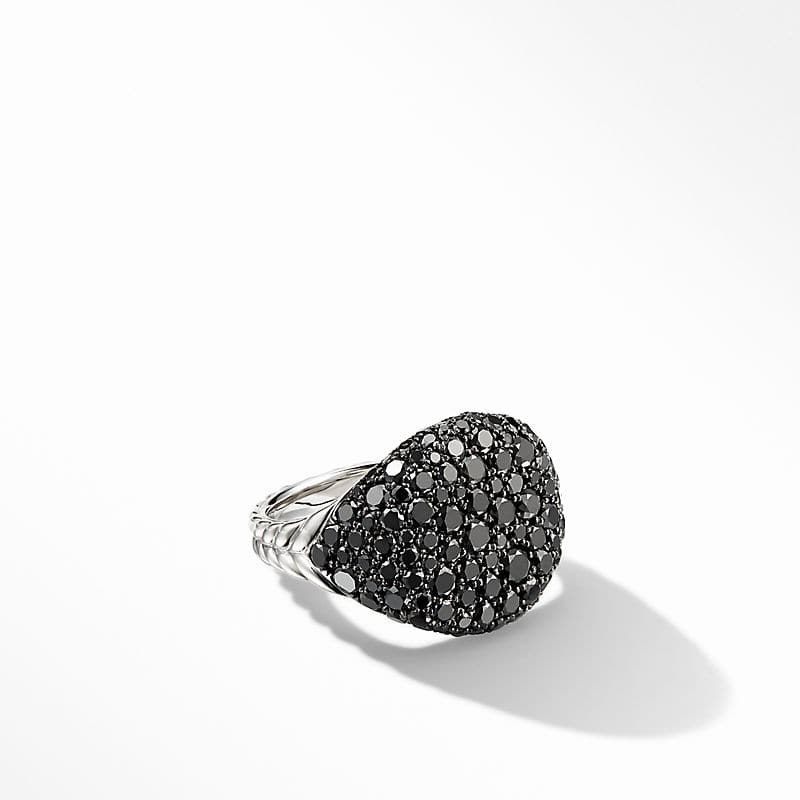 Chevron Pinky Ring in 18K White Gold with Pavé