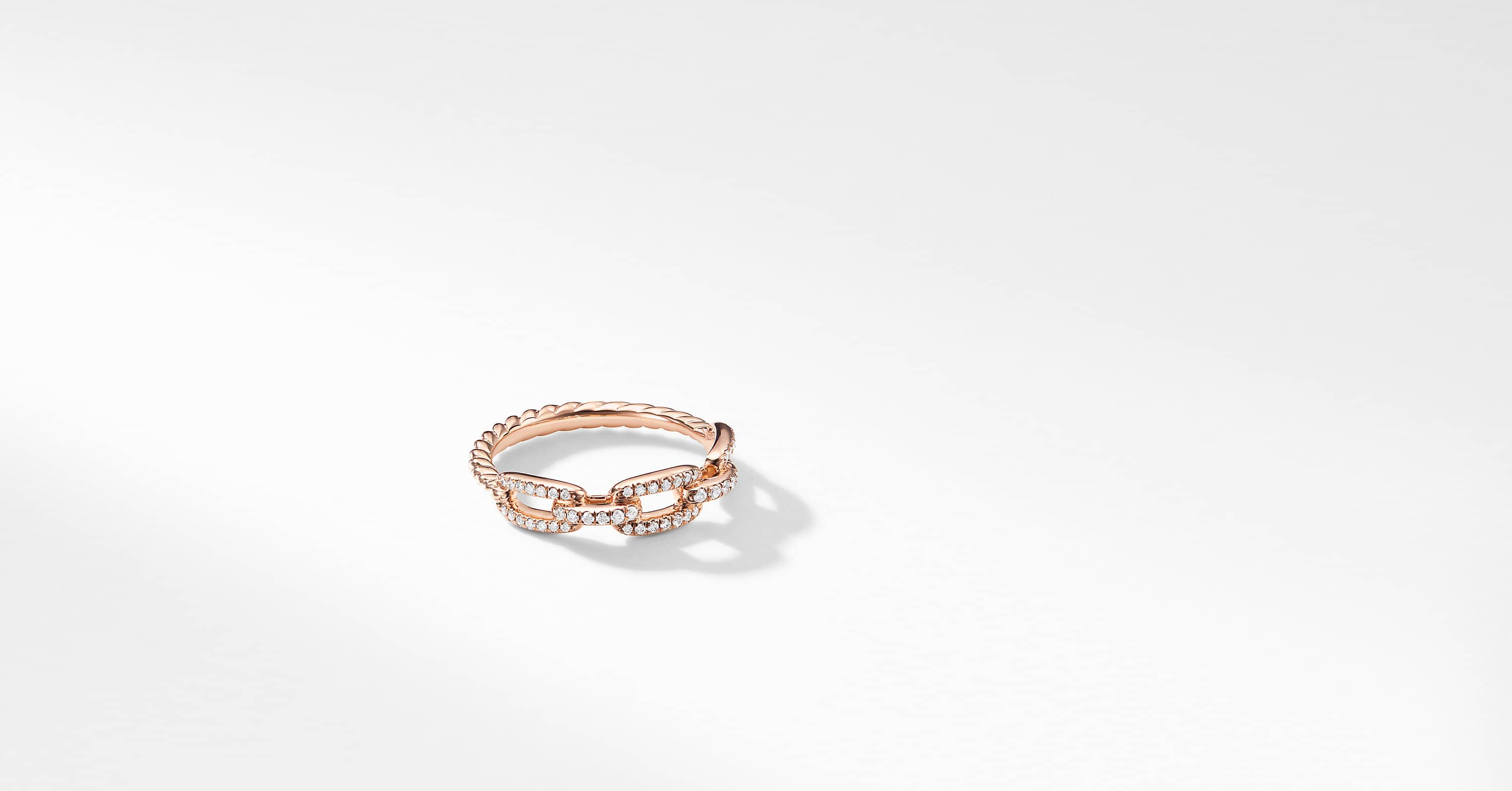 Stax Single Row Pave Chain Link Ring with Diamonds in 18K Rose Gold, 4.5mm