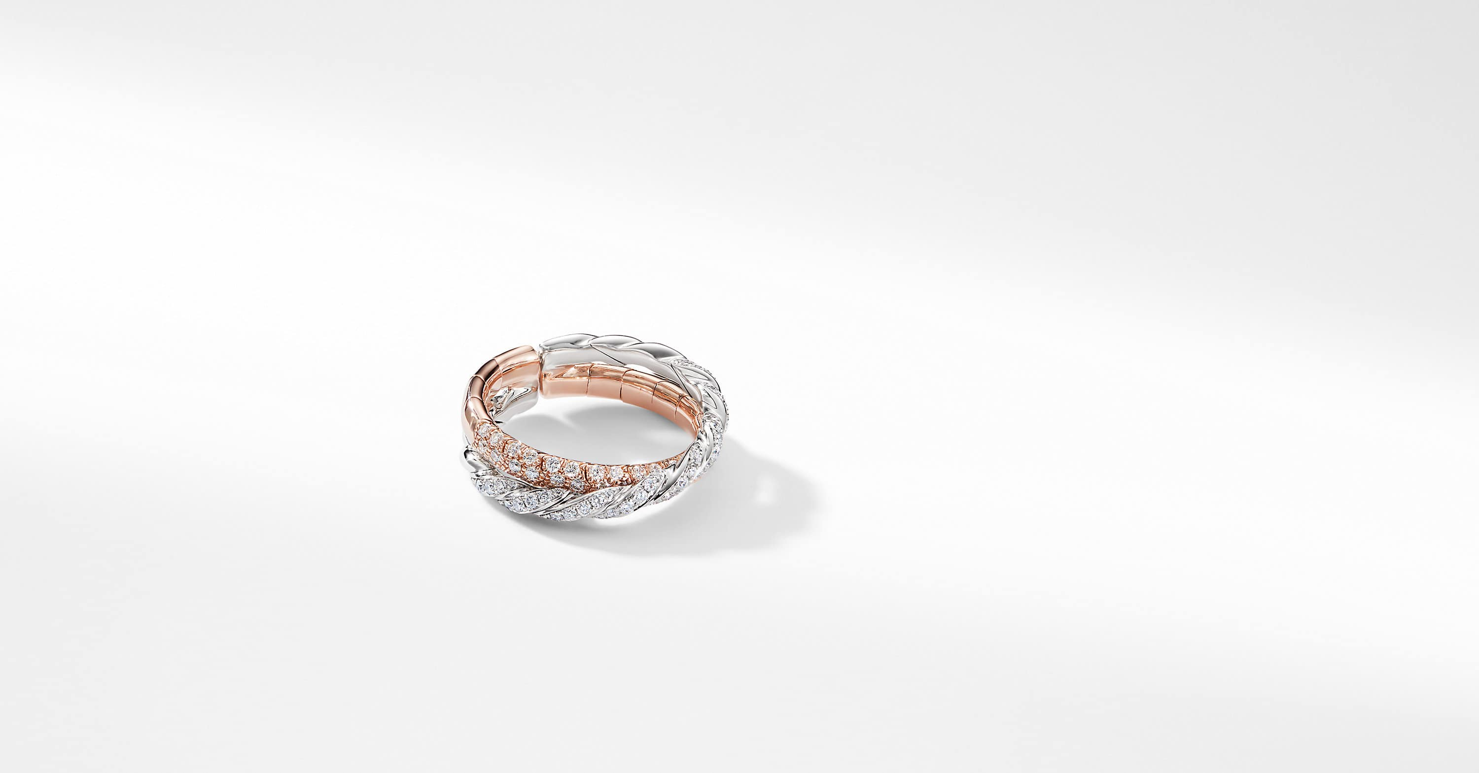 Bague Pavéflex à deux rangs en or rose et blanc 18K et diamants