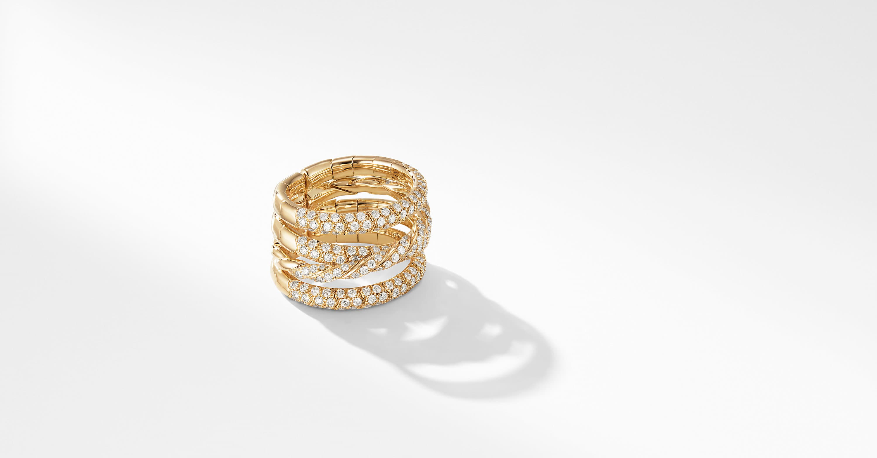 Paveflex Four Row Ring  in 18K Yellow Gold with Diamonds