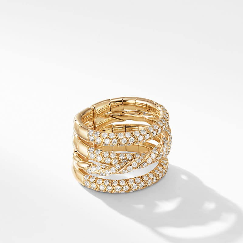 Paveflex Four Row Ring in 18K Yellow Gold