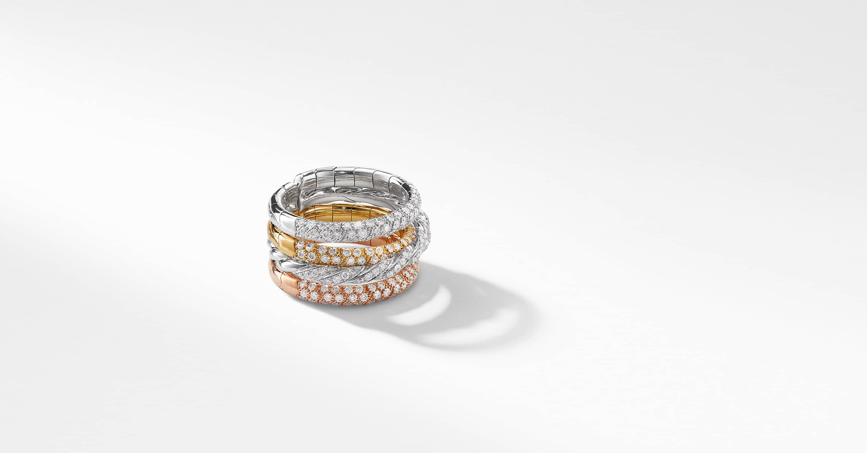 Paveflex Four Row Ring with Diamonds in 18K Gold
