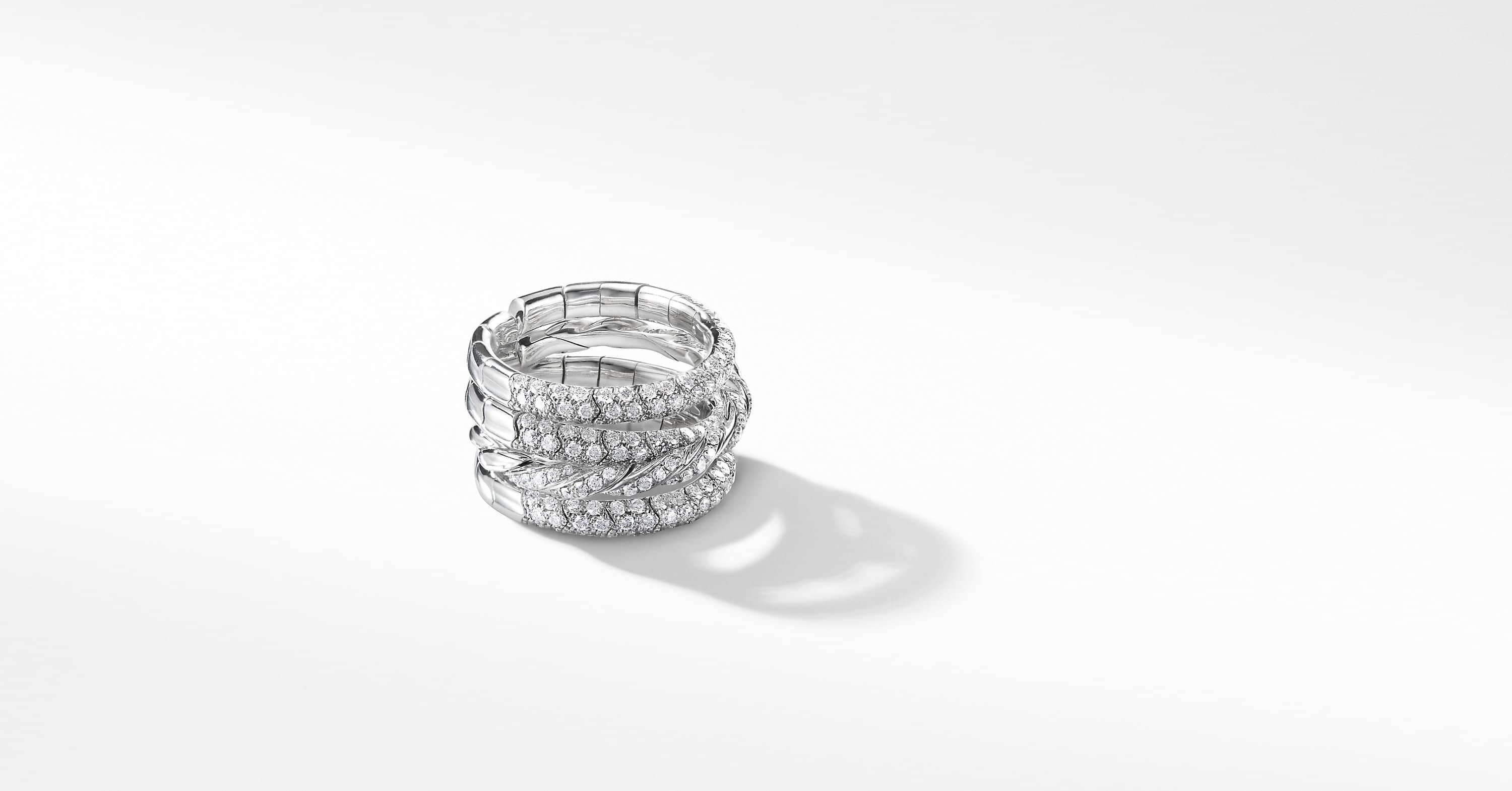 Bague Pavéflex à quatre rangs en or 18 carats et diamants