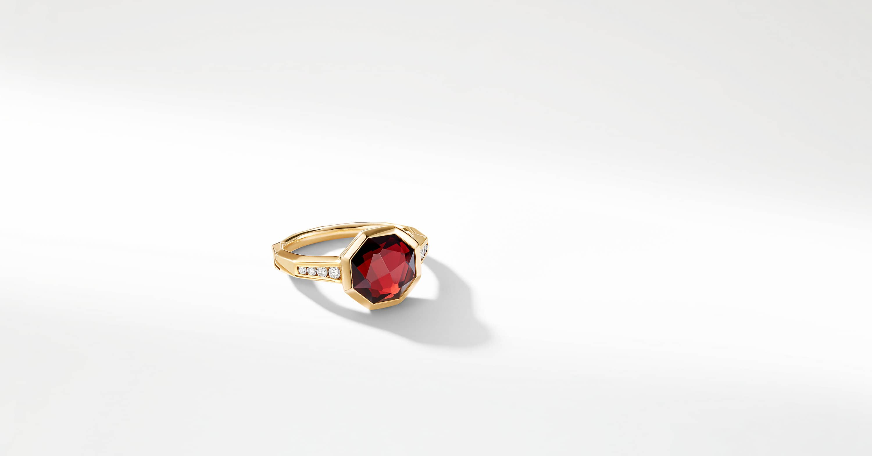 Guilin Octagon Ring with Diamonds in 18K Gold