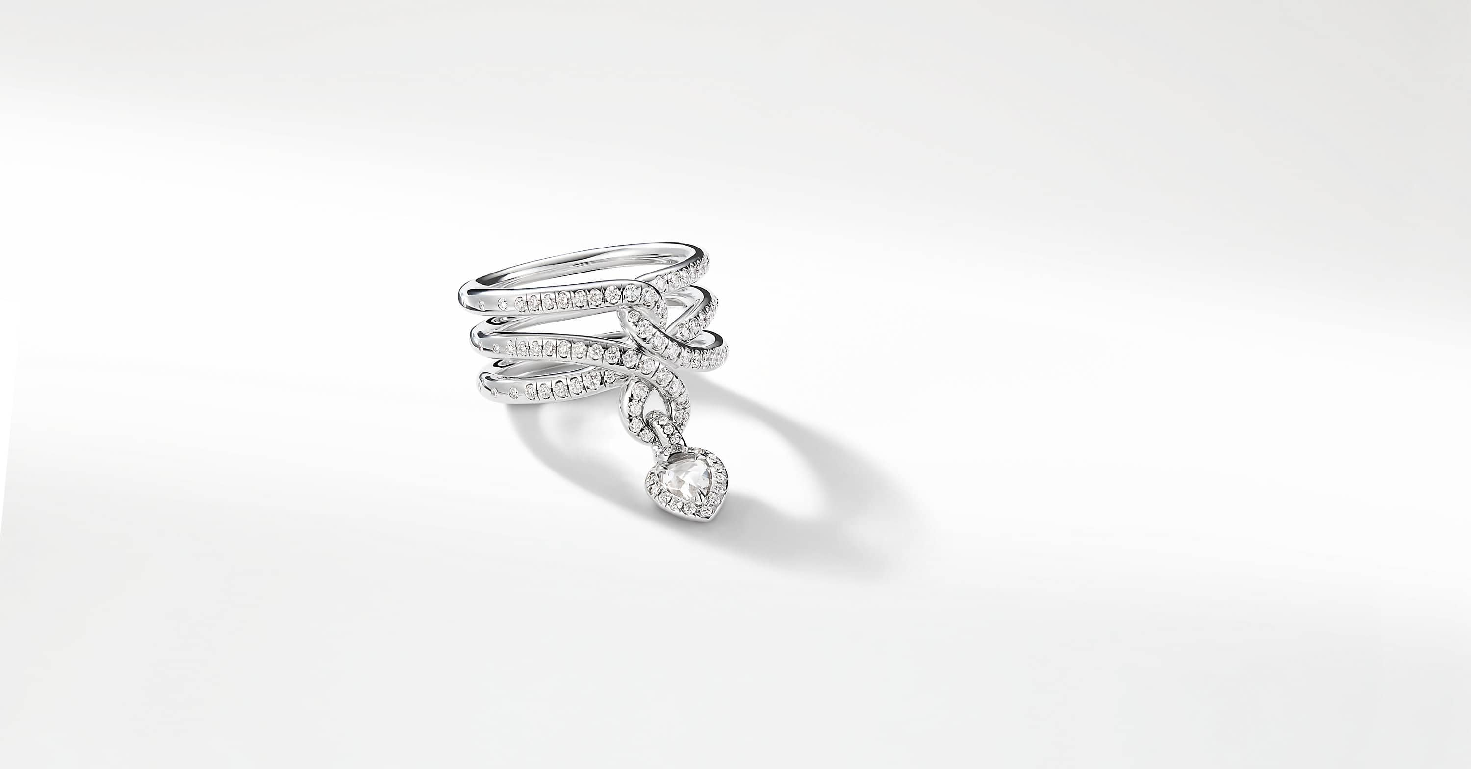 Continuance Drop Ring with Diamonds in 18k White Gold, 16mm