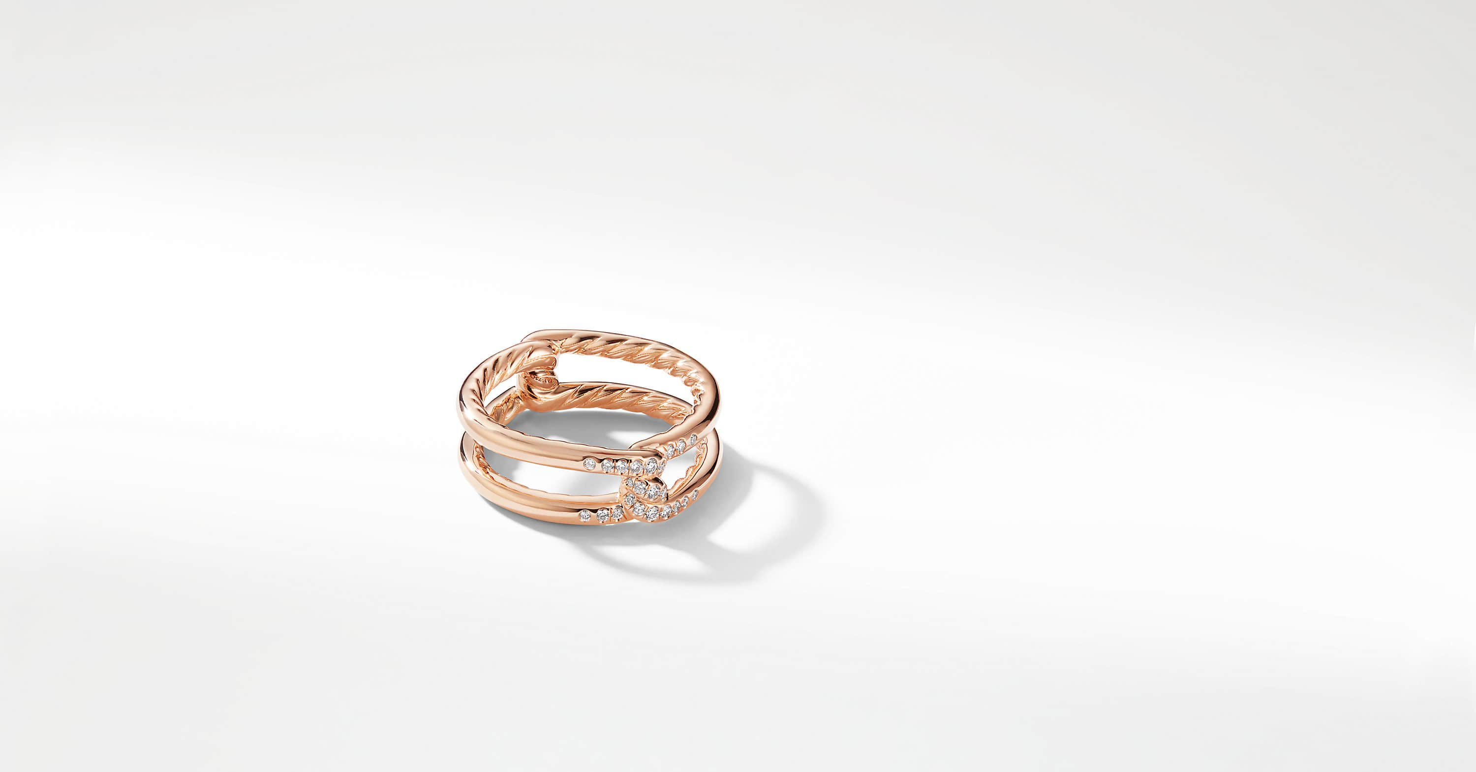 Continuance Band Ring with Diamonds in 18K Rose Gold, 6.5mm