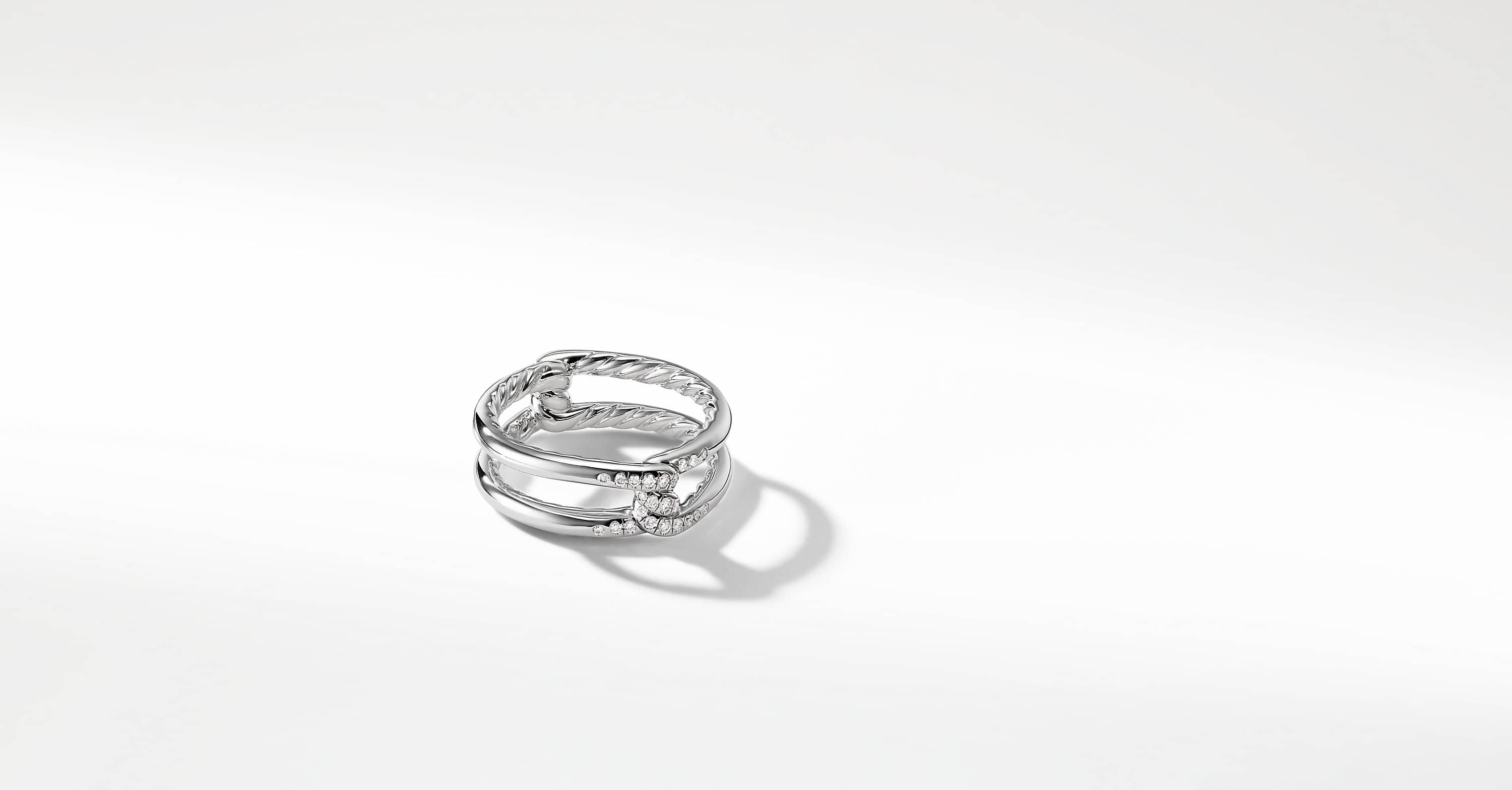 Continuance Band Ring with Diamonds in 18K White Gold, 6.5mm