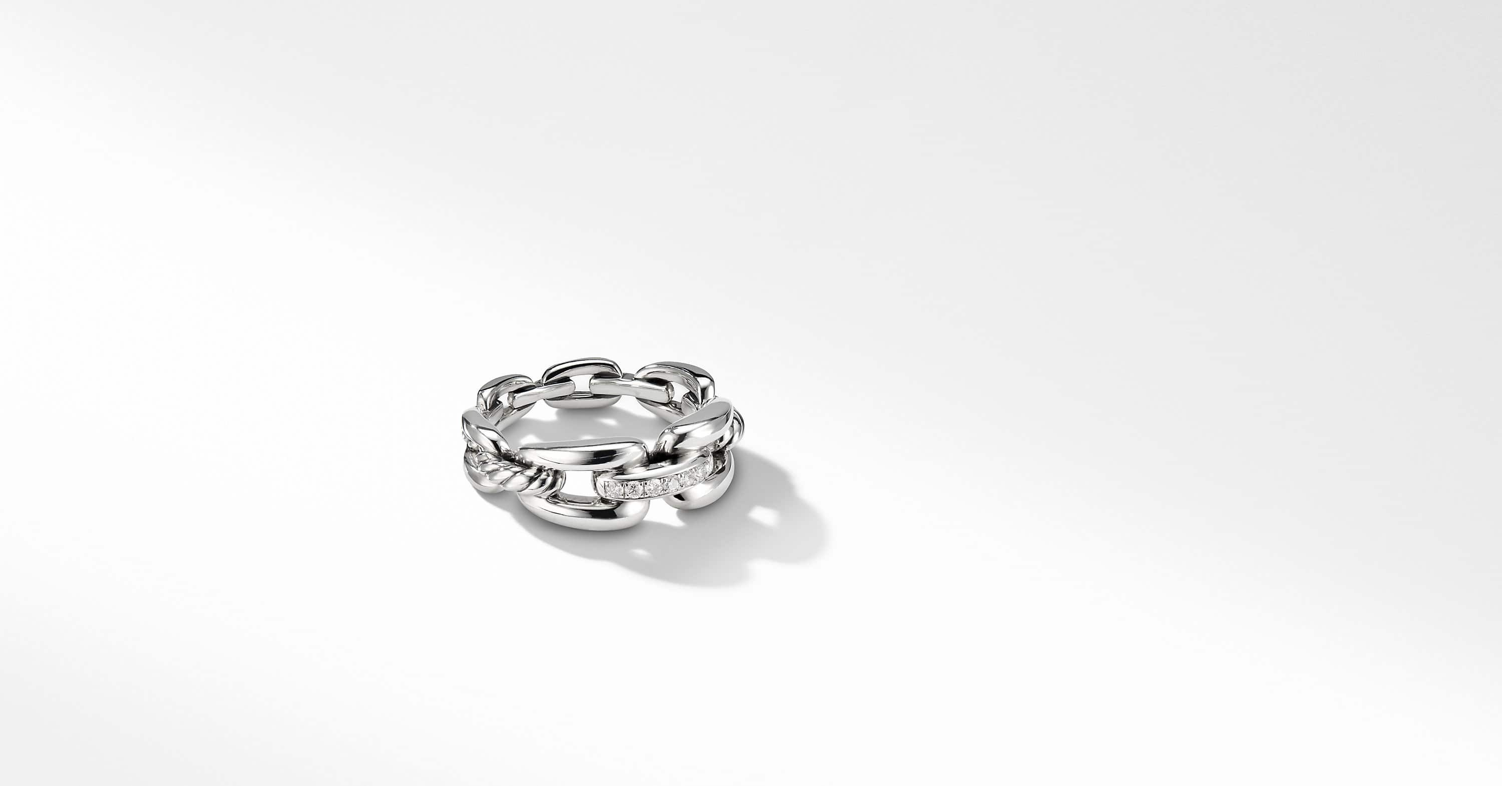 Wellesley Link Chain Ring with Diamonds